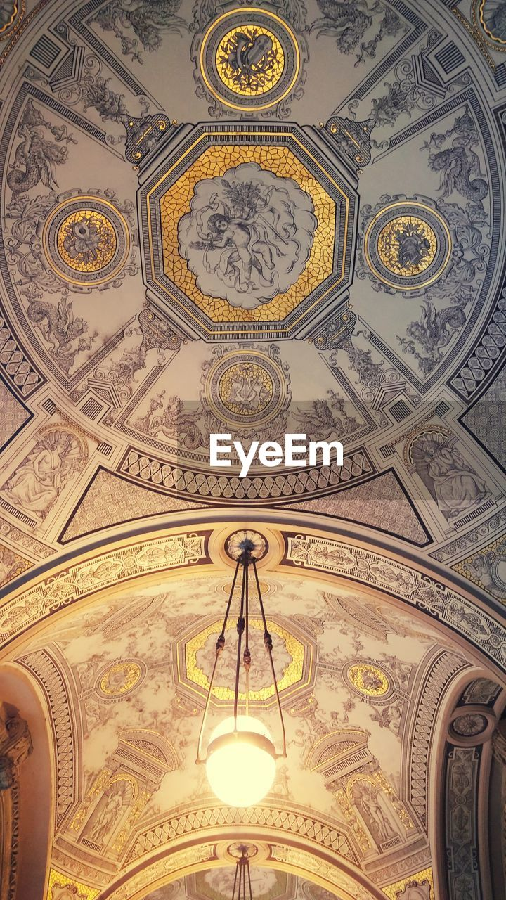 pattern, design, ornate, indoors, ceiling, backgrounds, low angle view, architecture, dome, no people, day, close-up