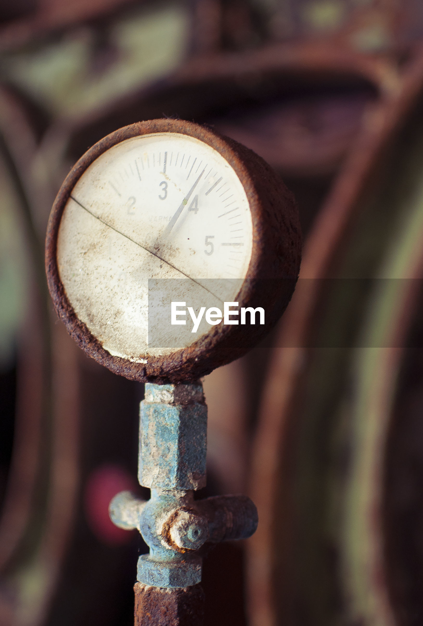 Close-up of rusty pressure gauge