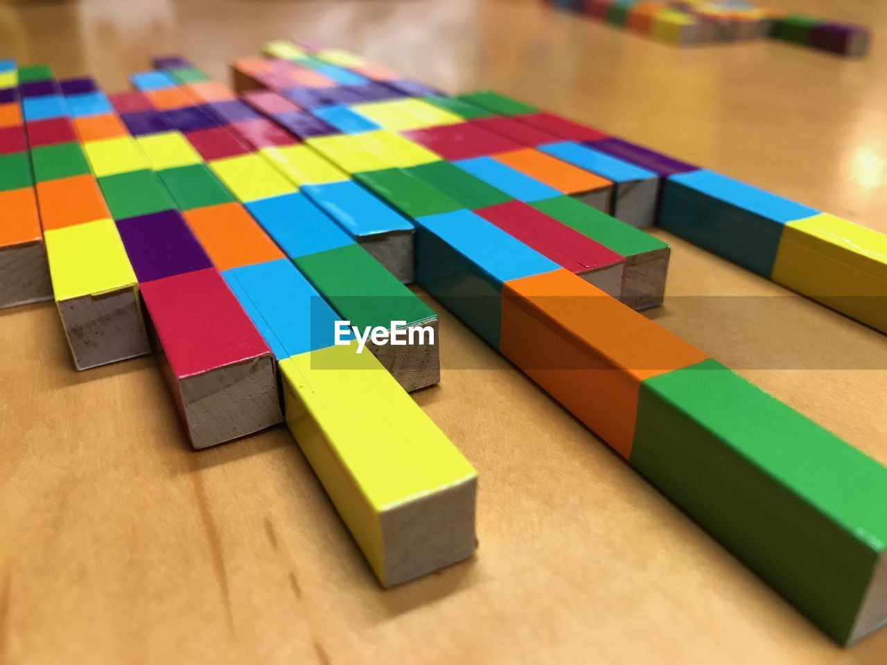High Angle View Of Colorful Blocks On Table
