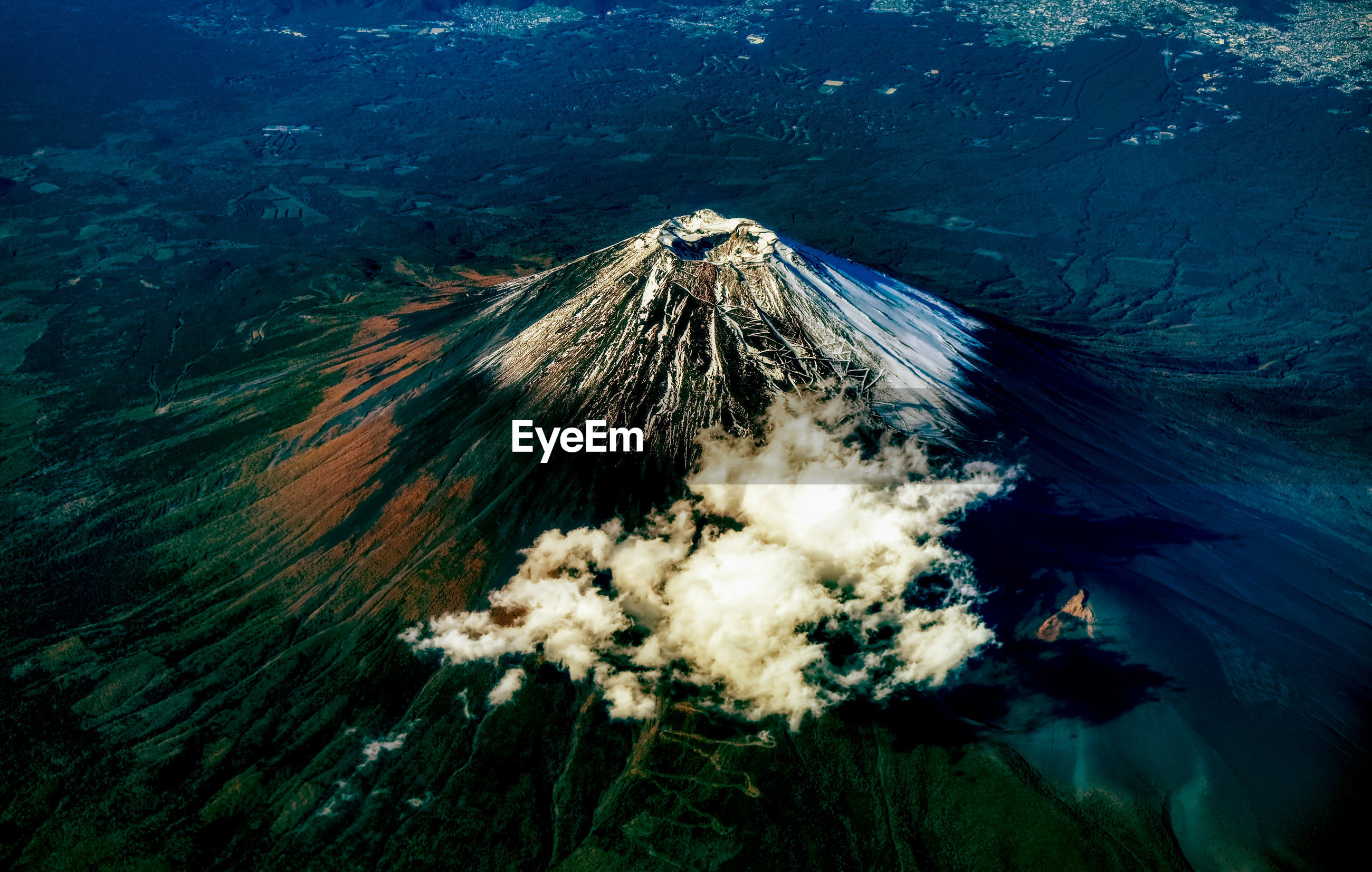 High angle view of mountain fuji
