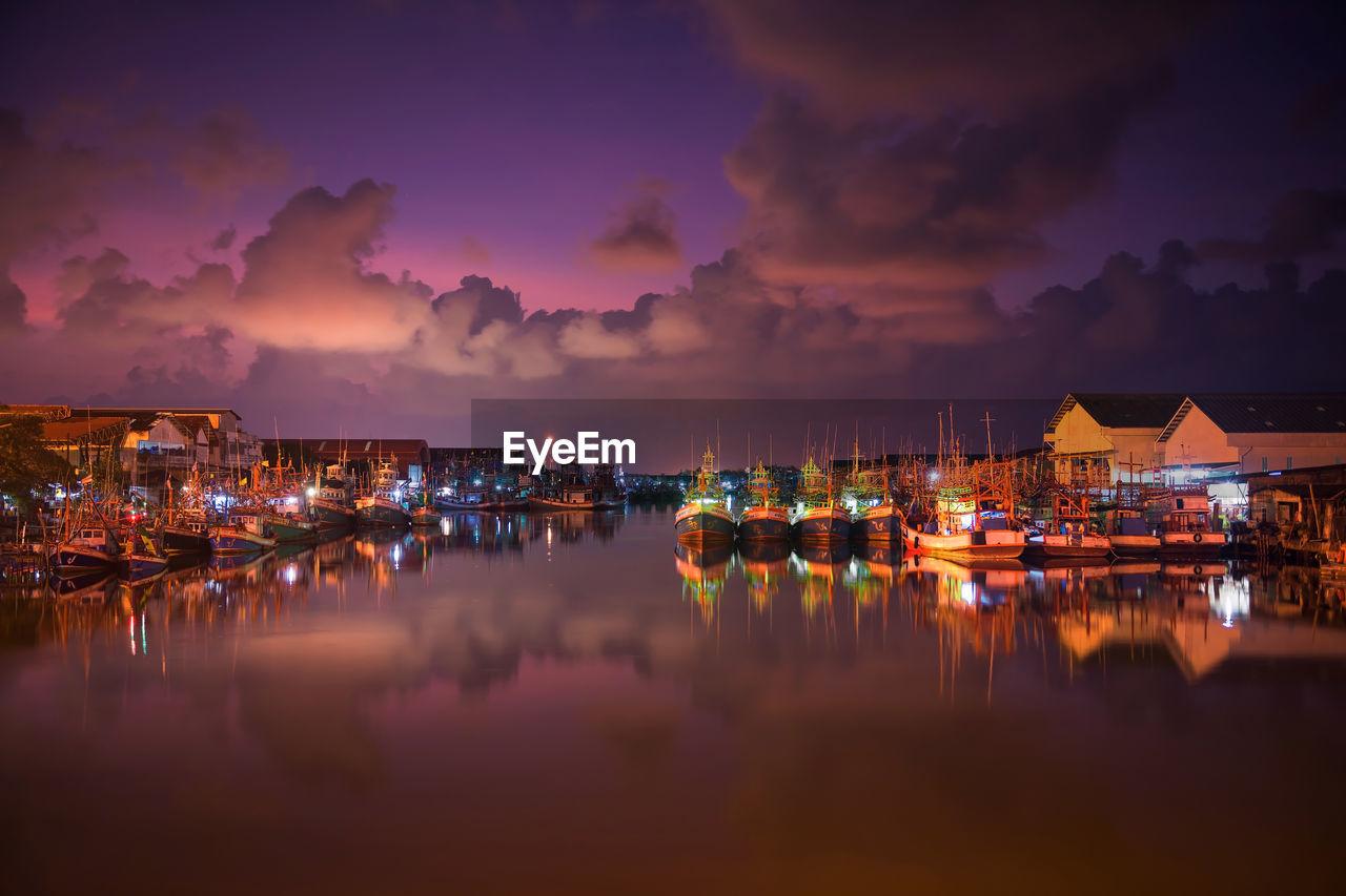 Panoramic View Of Harbor At Night