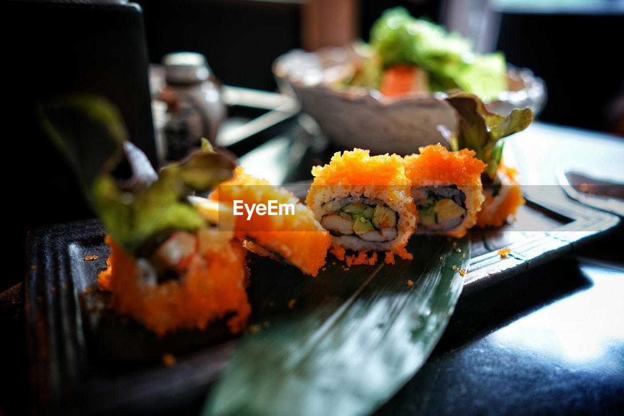 View Of Sushi Rolls Served In Plate