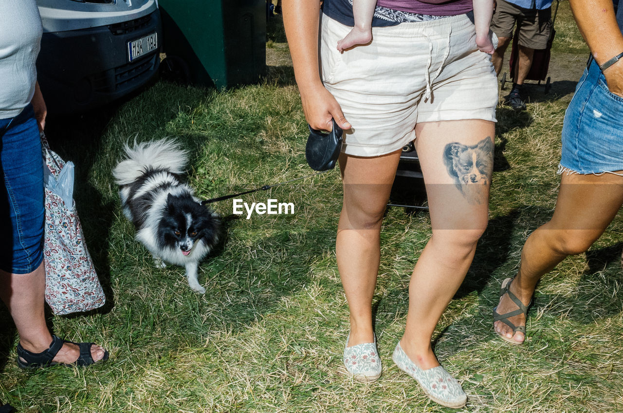 one animal, real people, pets, domestic, dog, mammal, canine, low section, domestic animals, lifestyles, vertebrate, casual clothing, leisure activity, human leg, people, group of people, day, outdoors, shorts, pet owner