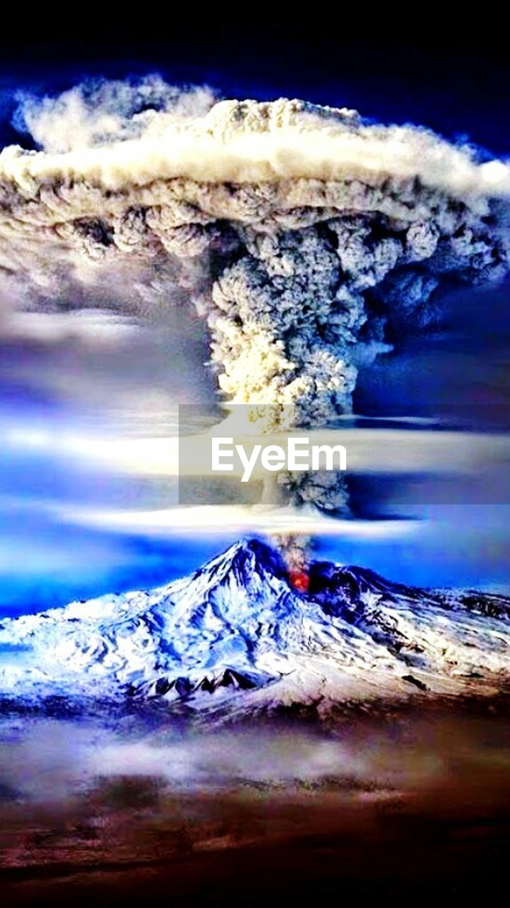 motion, smoke - physical structure, no people, power in nature, nature, mountain, risk, erupting, outdoors, sea, sky, scenics, ash, beauty in nature, close-up, water, day, wave