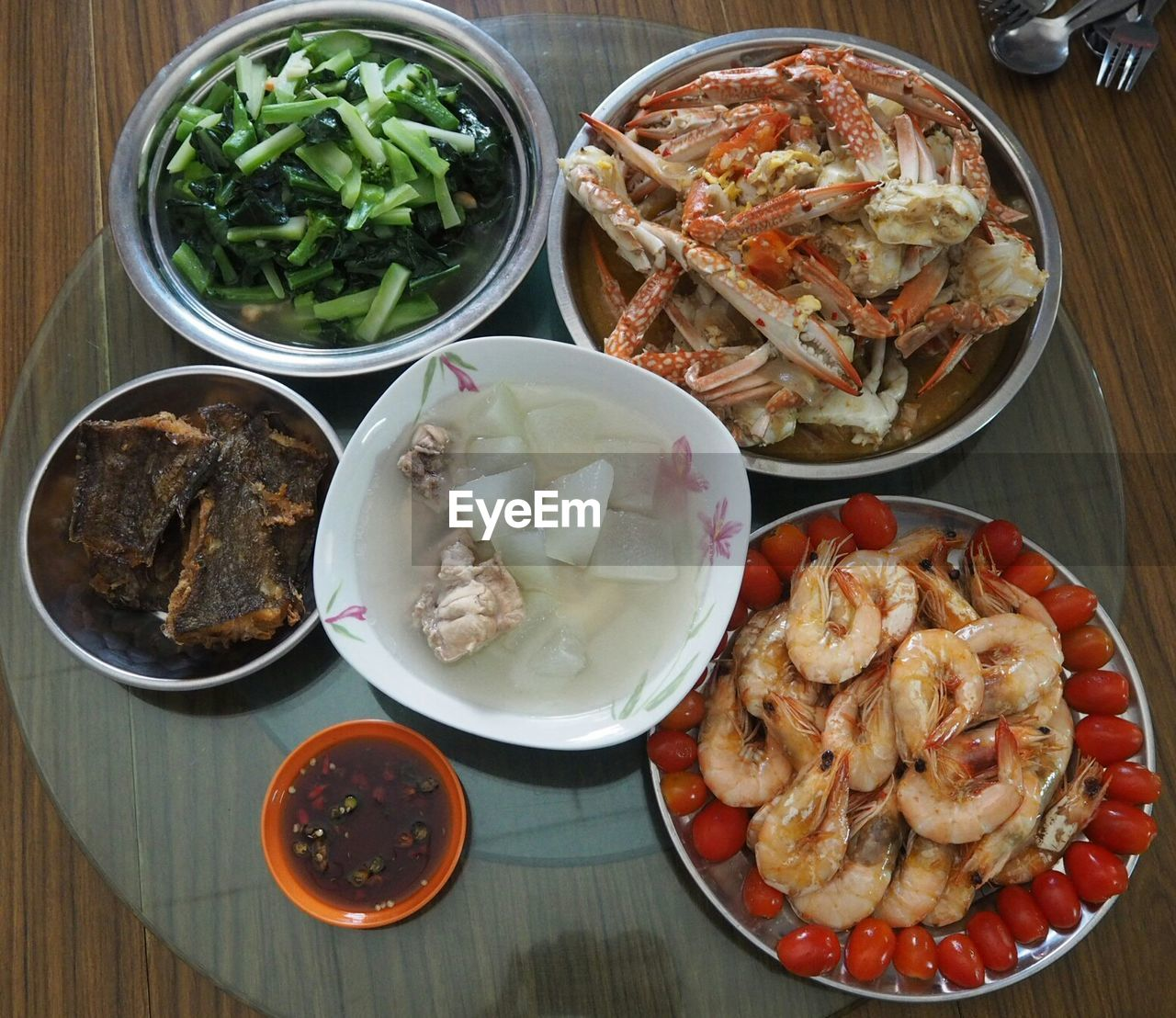 food and drink, food, freshness, table, healthy eating, ready-to-eat, bowl, wellbeing, indoors, plate, meal, still life, high angle view, serving size, no people, meat, vegetable, asian food, seafood, choice, chinese food, crockery, dinner