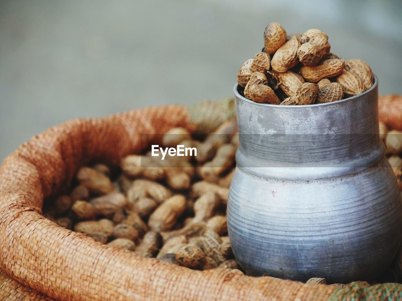 Close-up of peanuts in sack