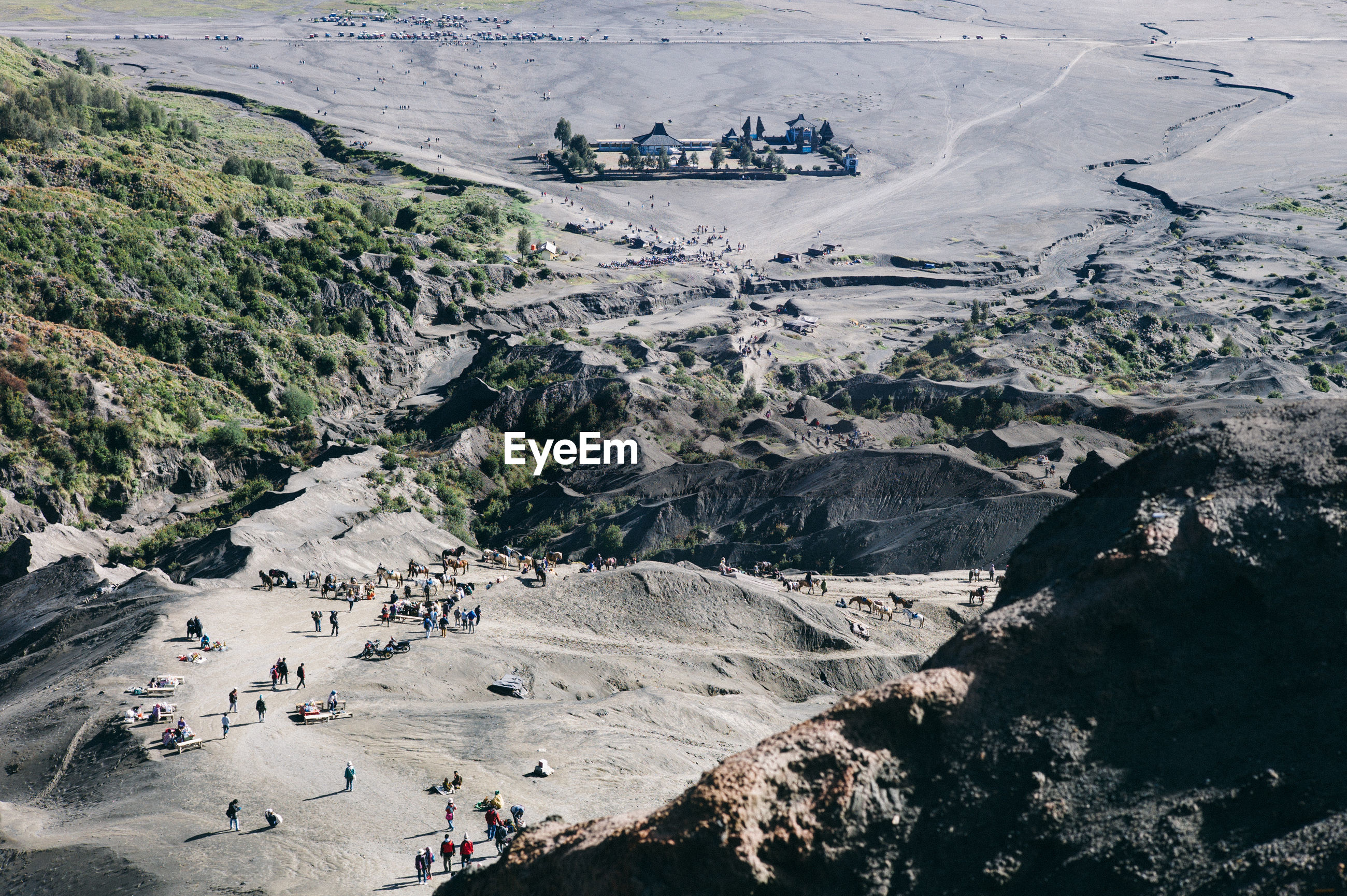 High angle view of tourists in valley