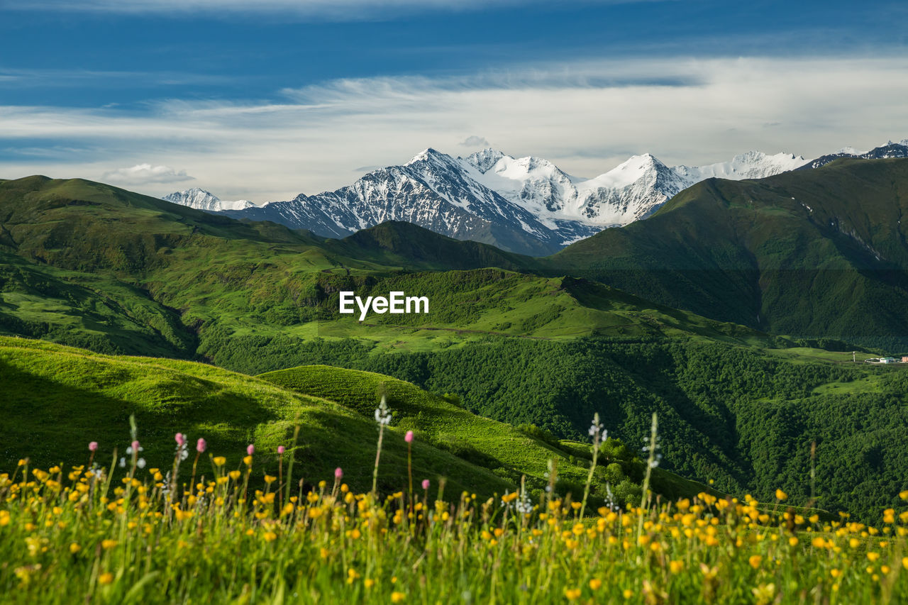Scenic view of mountains against cloudy sky in chechnya