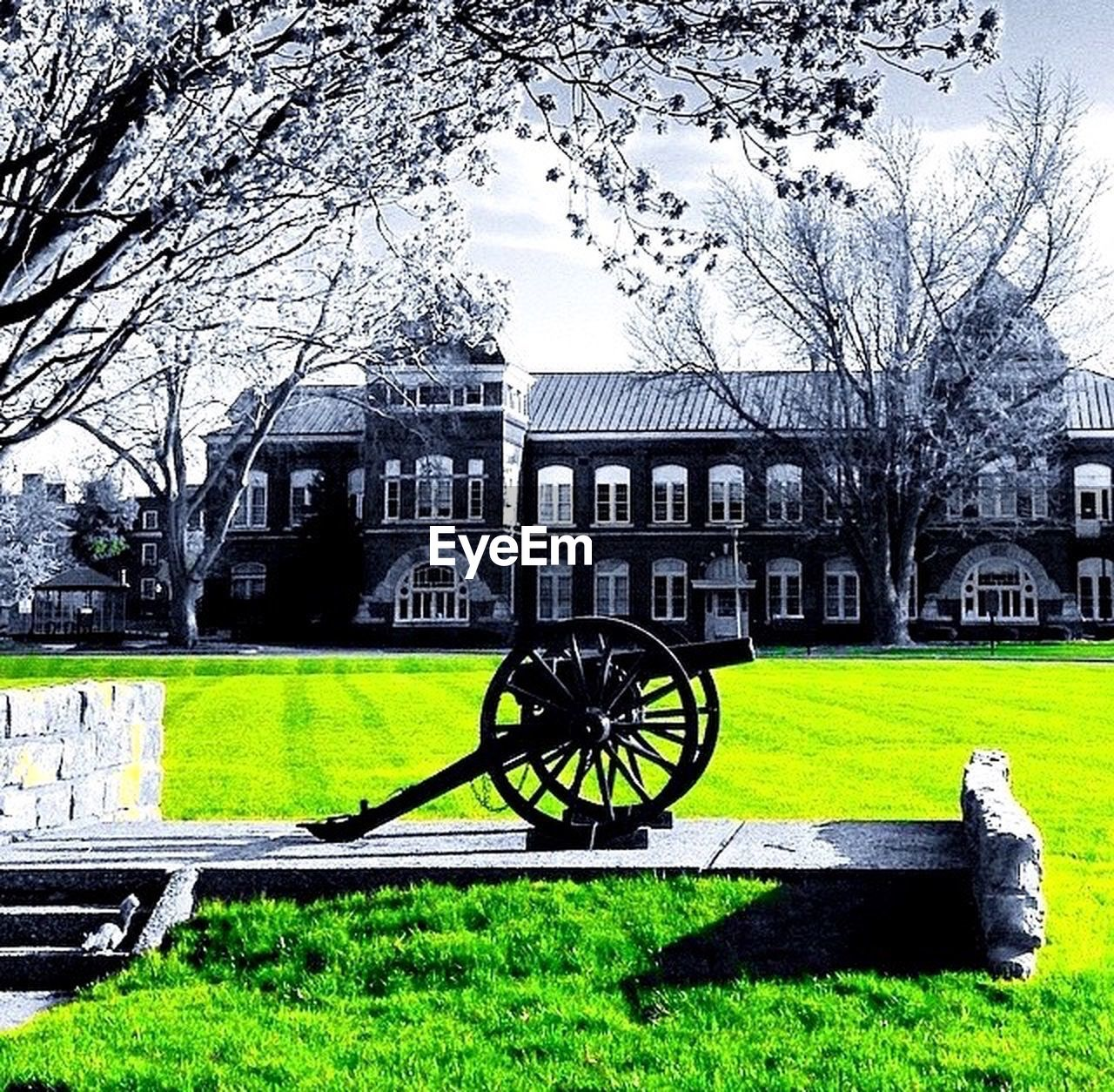 history, building exterior, grass, architecture, built structure, tree, the past, lawn, canon, cannon, day, outdoors, nature, old-fashioned, weapon, travel destinations, no people, growth, bare tree, beauty in nature