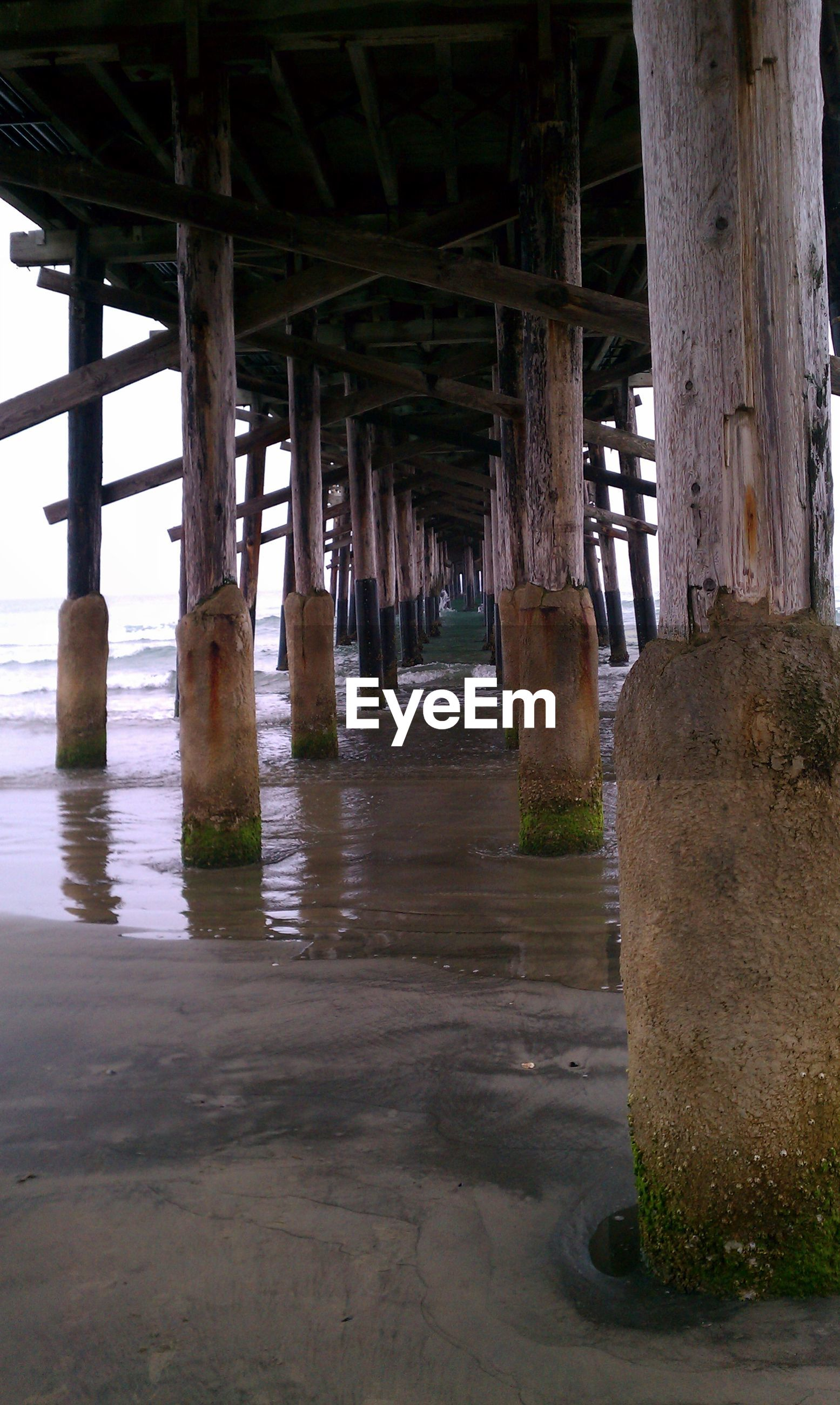 architectural column, built structure, architecture, column, support, water, old, in a row, below, wood - material, pillar, sea, beach, abandoned, indoors, day, sunlight, pier, no people, sand