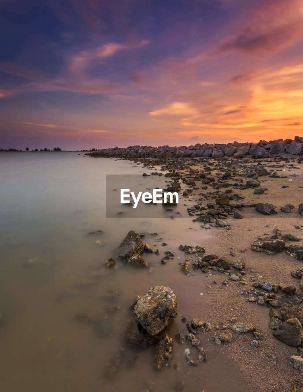 sunset, sky, beauty in nature, cloud - sky, scenics - nature, tranquility, water, tranquil scene, orange color, land, sea, nature, beach, no people, idyllic, rock, solid, rock - object, non-urban scene, outdoors