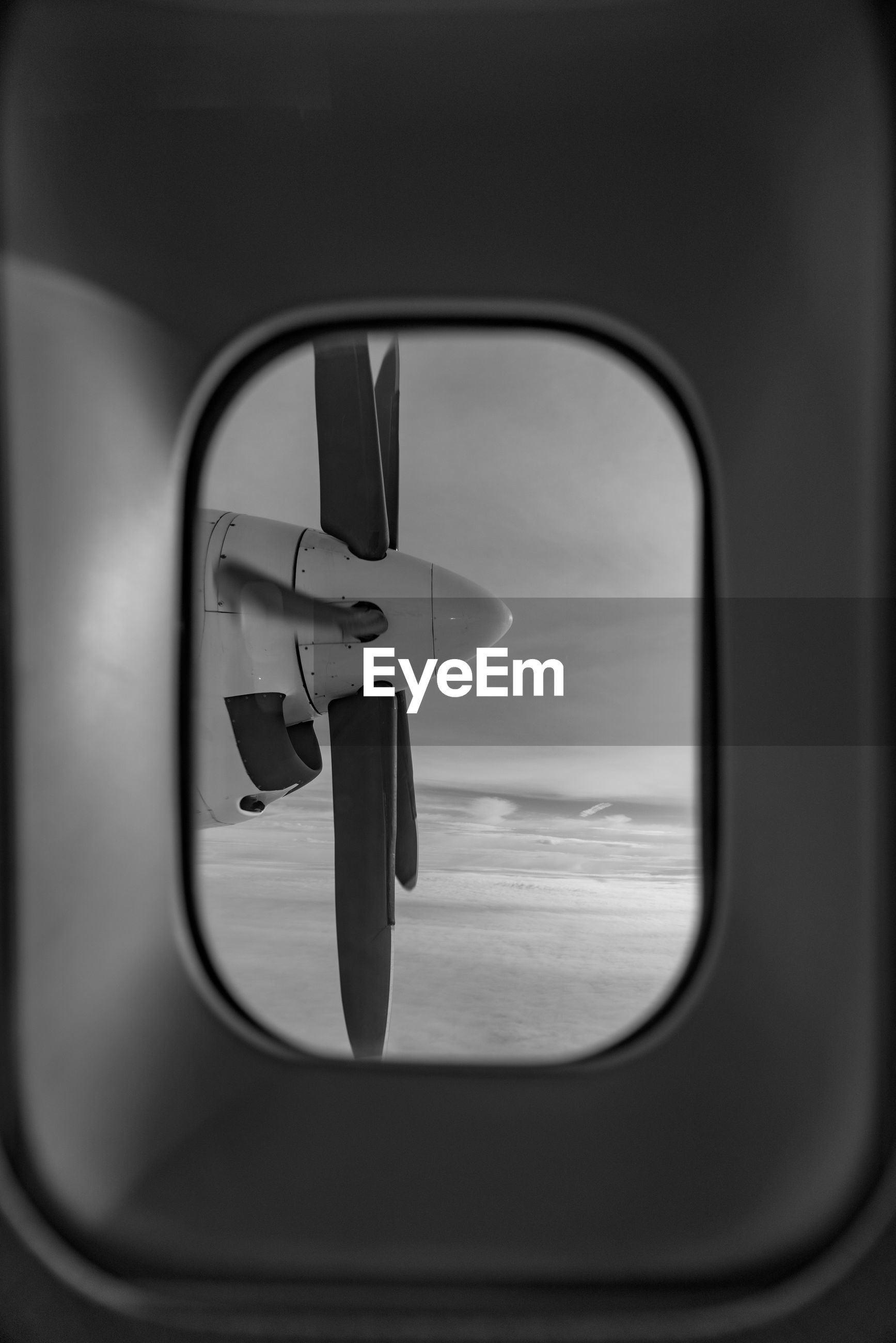 Close-up of the window of an airplane