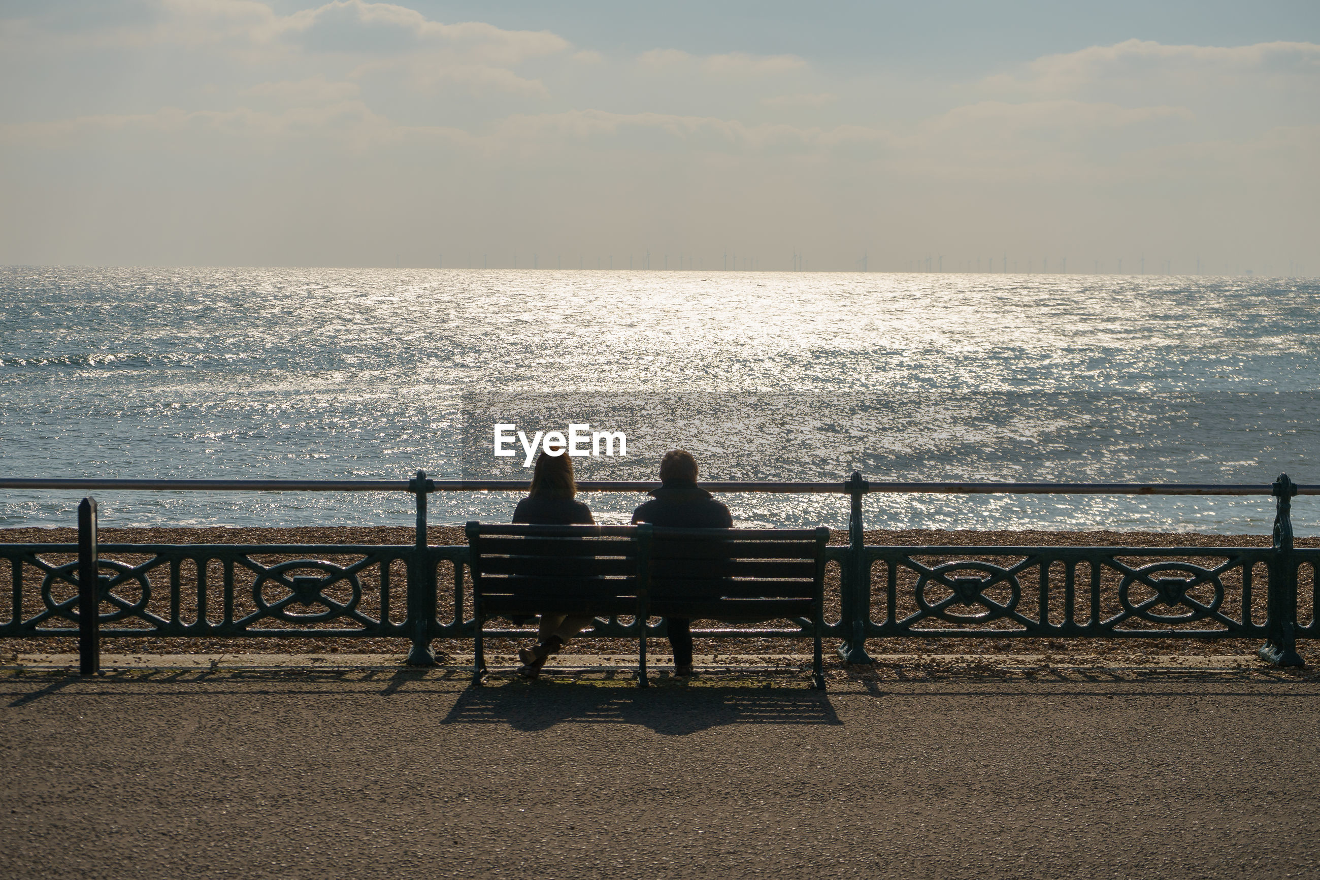 Rear view of people sitting at beach against sky