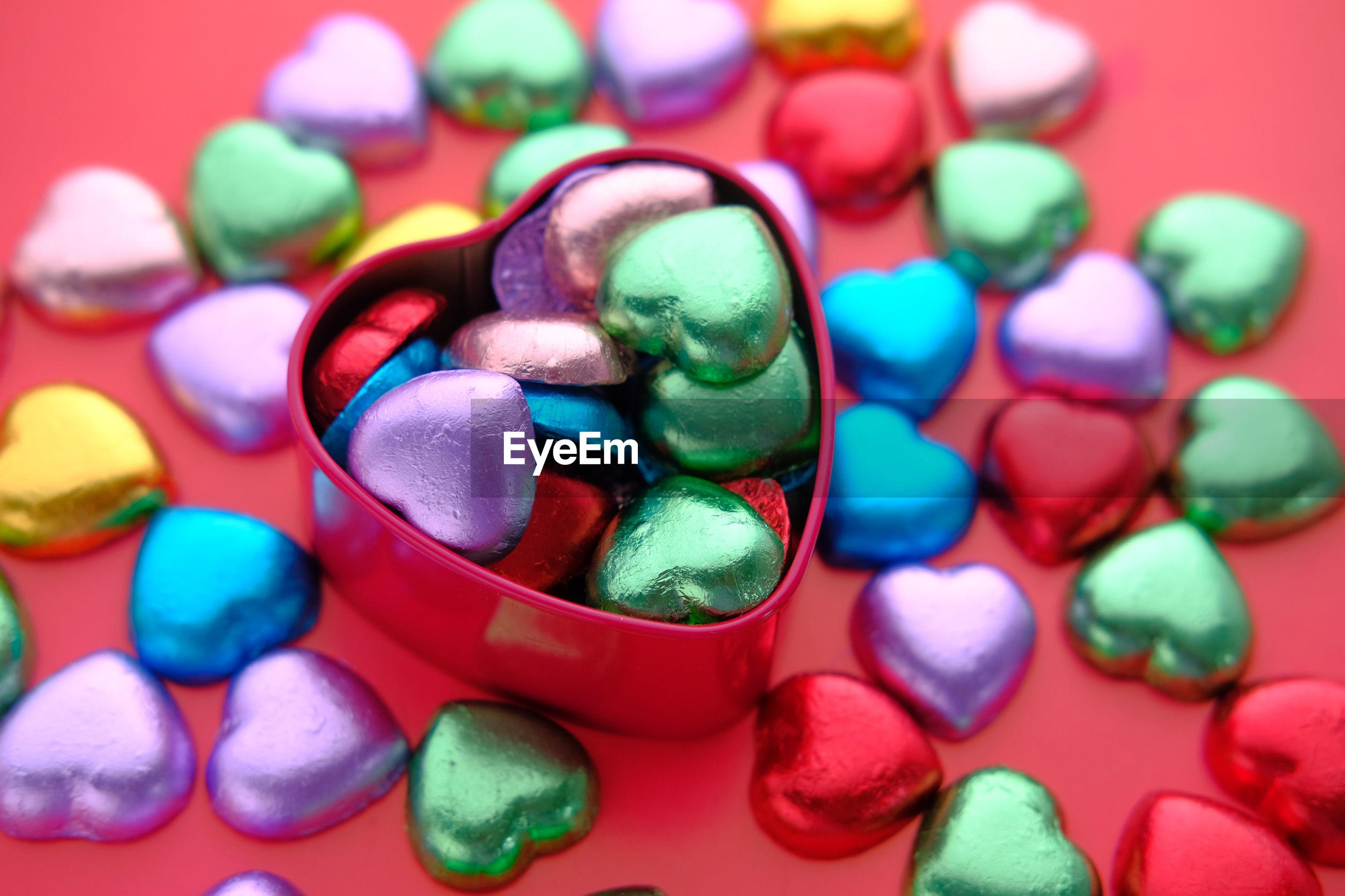 Heart shape candy in a box