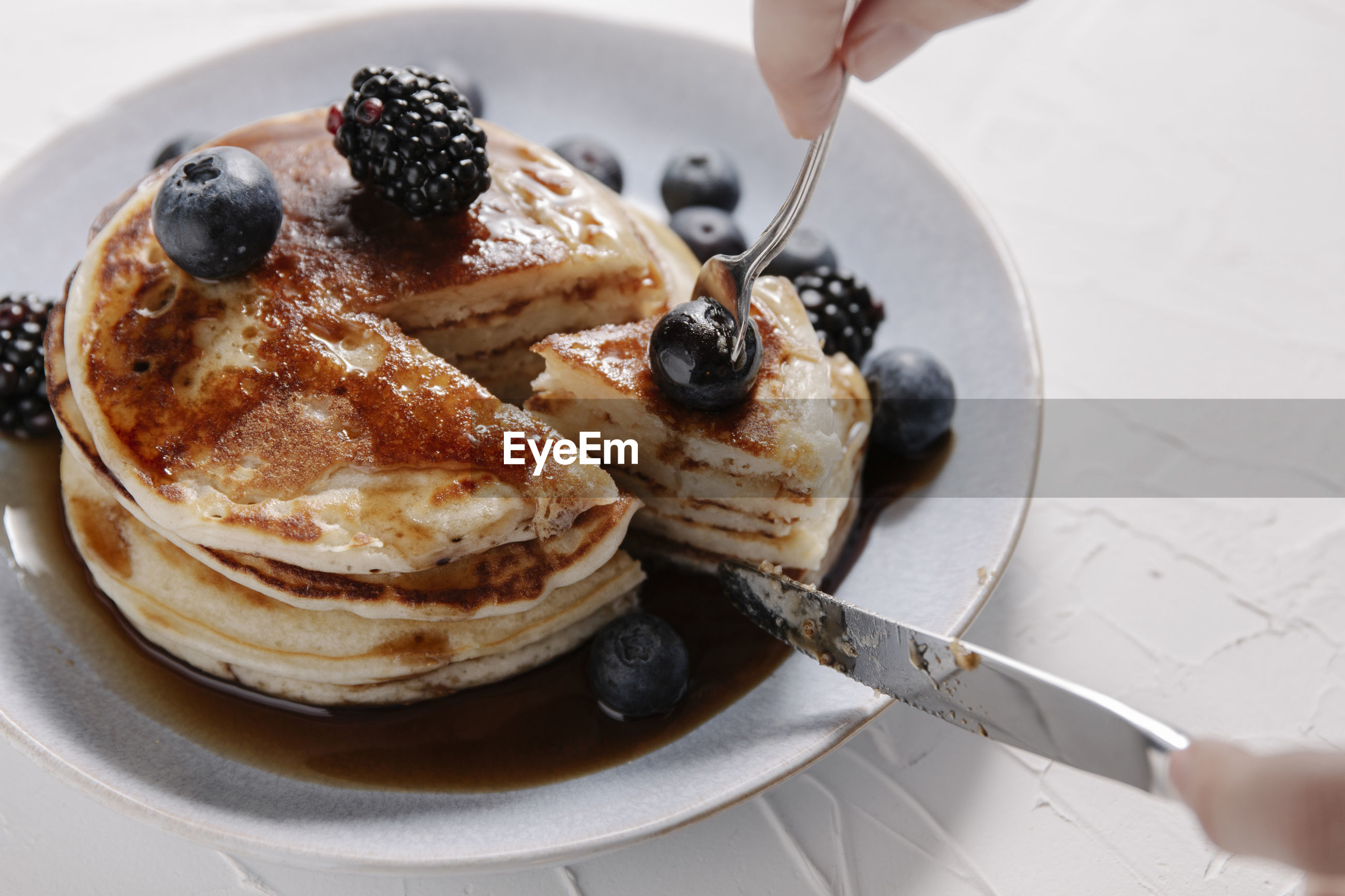 HIGH ANGLE VIEW OF BREAKFAST IN GLASS