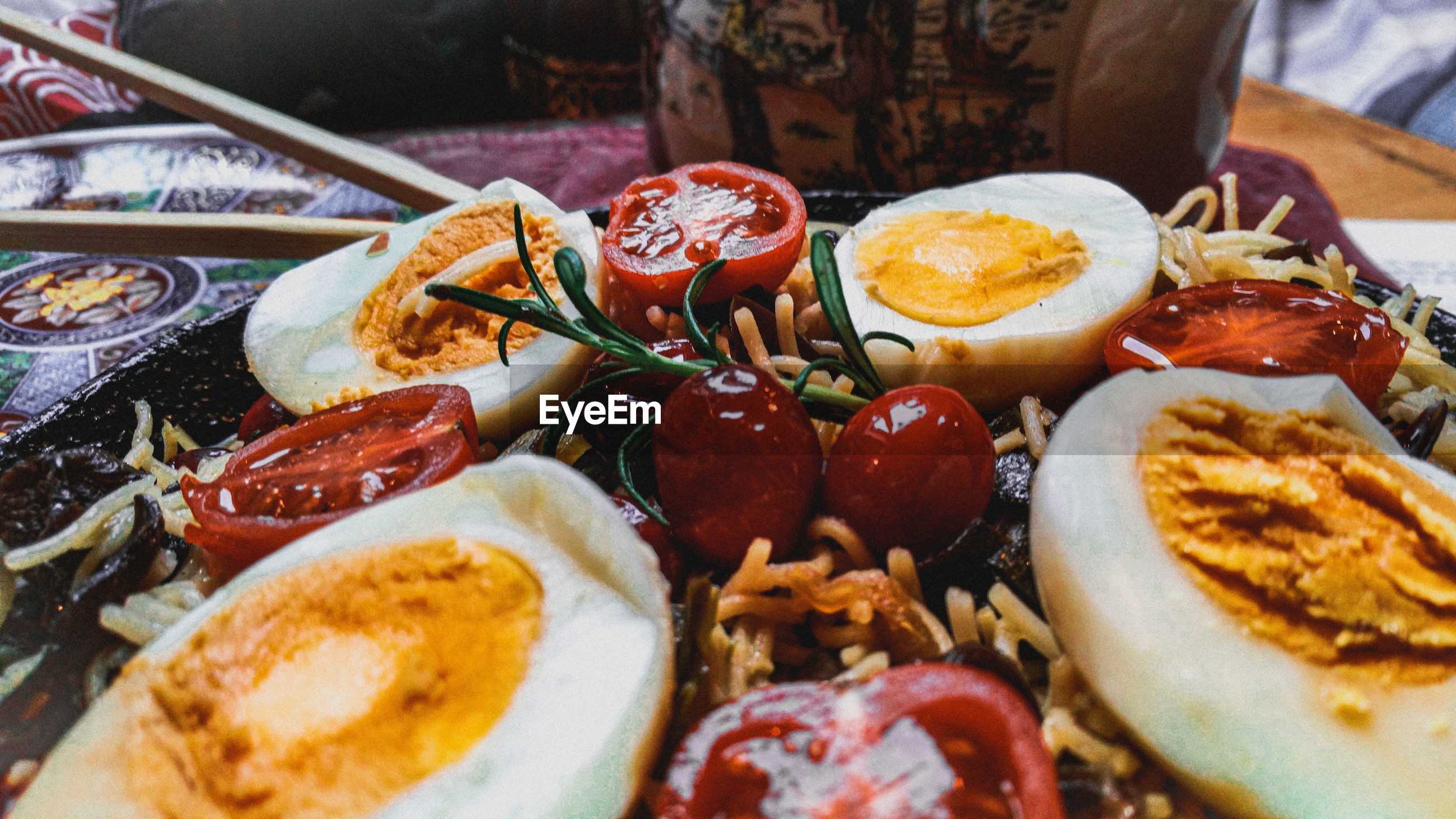 High angle view of eggs and noodles