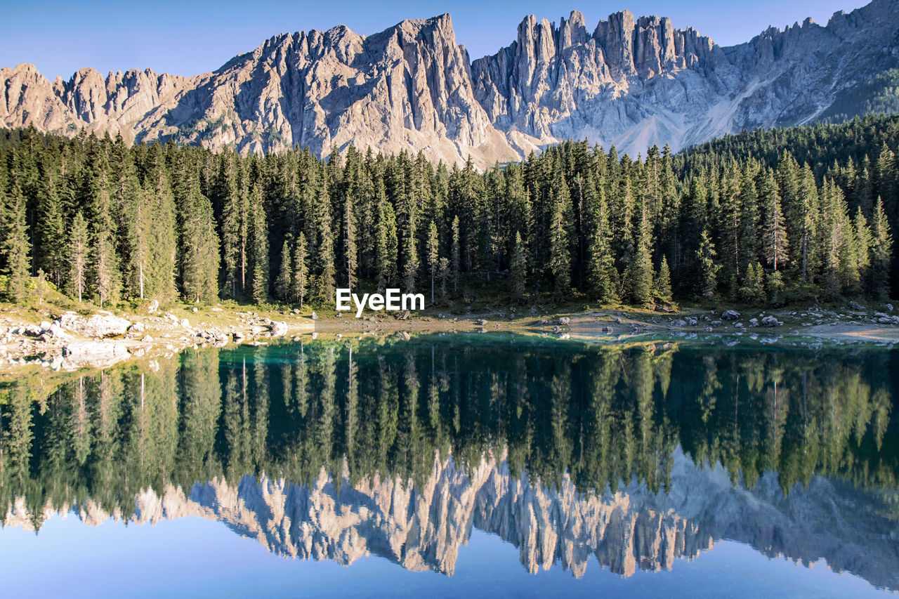Reflection of trees and mountains on lake