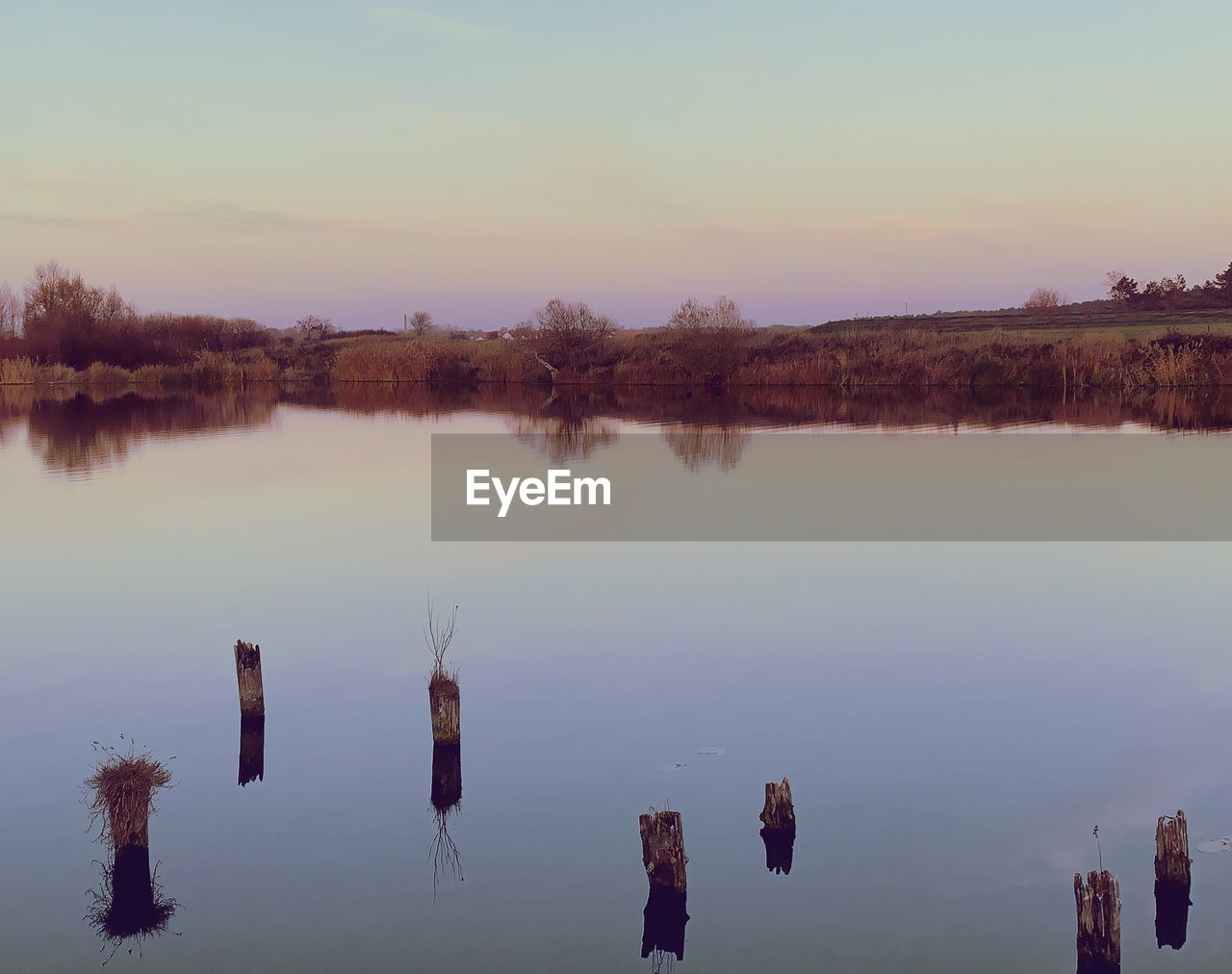 water, sky, reflection, lake, tranquility, tranquil scene, beauty in nature, nature, no people, sunset, scenics - nature, waterfront, non-urban scene, tree, plant, idyllic, outdoors, standing water, remote, wooden post, reflection lake