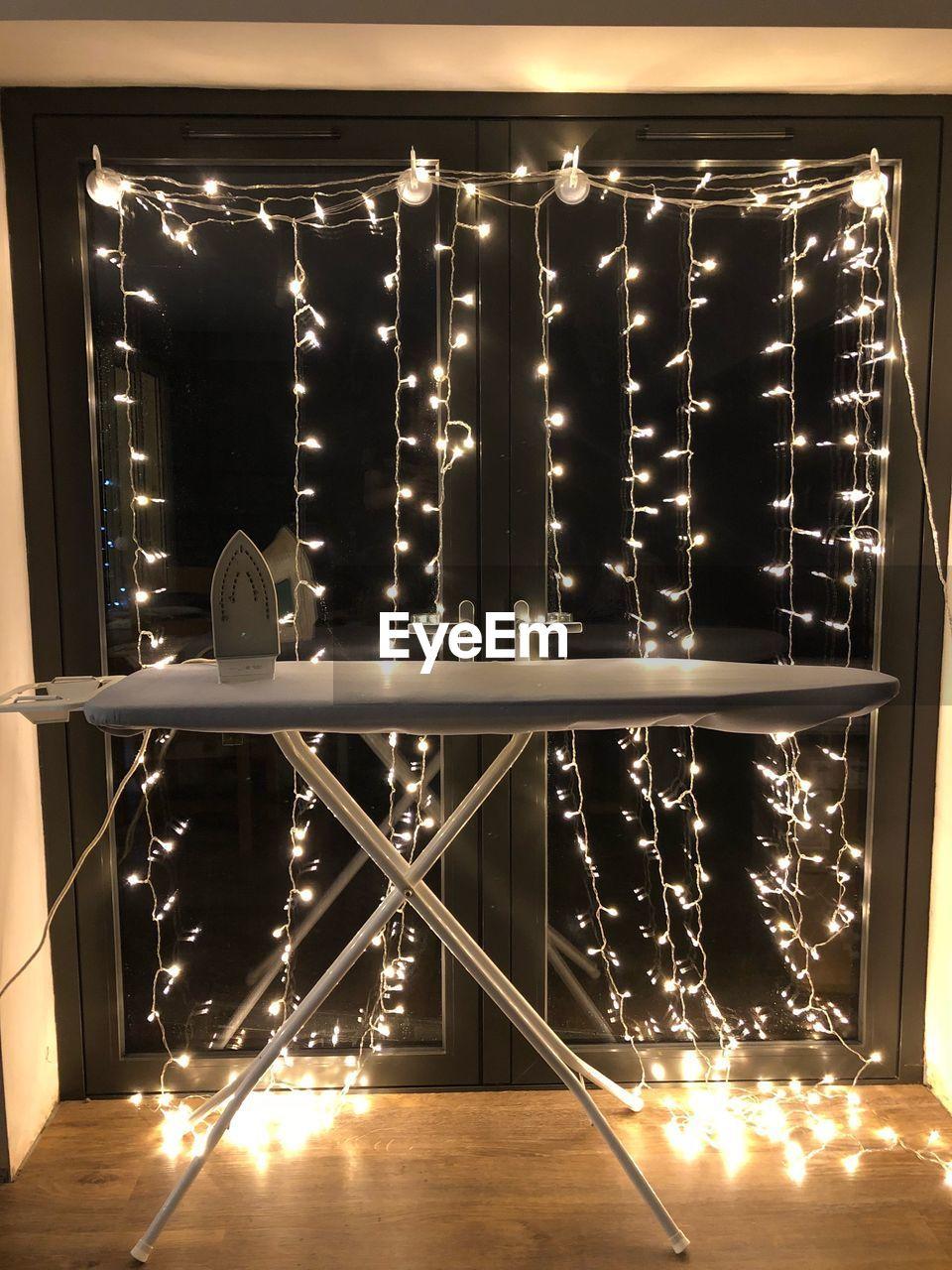 illuminated, indoors, no people, night, close-up