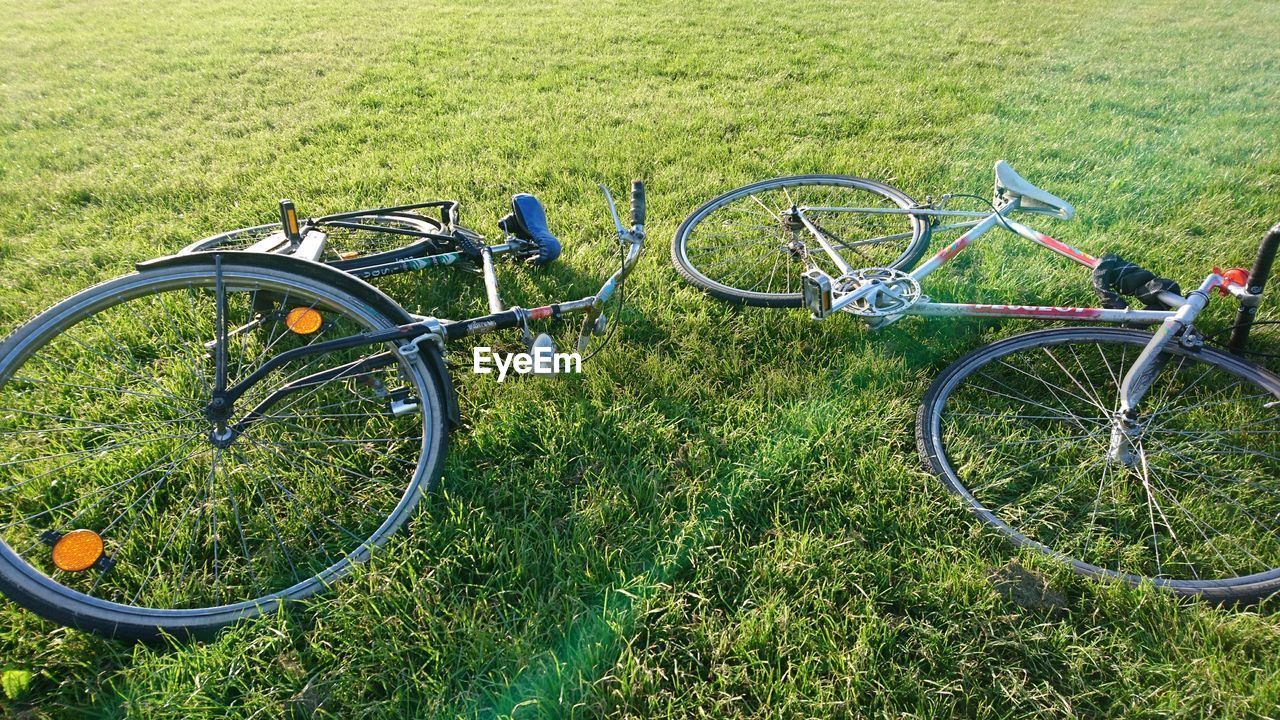 bicycle, transportation, grass, stationary, green color, mode of transport, no people, day, outdoors, land vehicle, metal, bicycle rack, nature