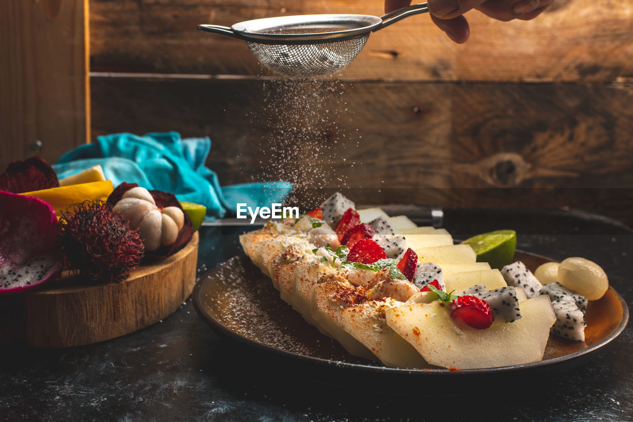 food and drink, food, freshness, ready-to-eat, no people, still life, indoors, table, close-up, plate, indulgence, serving size, healthy eating, sweet food, focus on foreground, fruit, bread, wellbeing, sweet, temptation, breakfast, garnish, snack