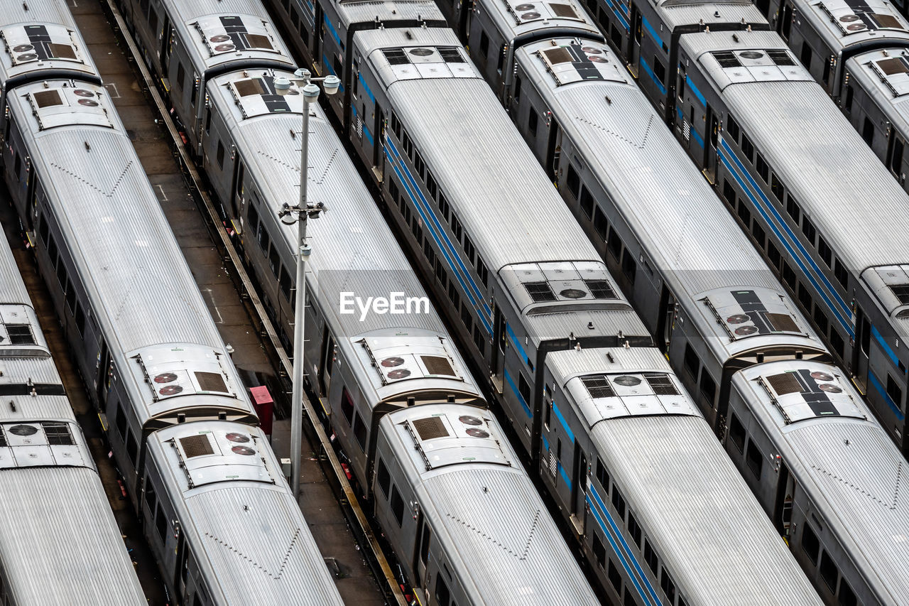 High angle view of trains