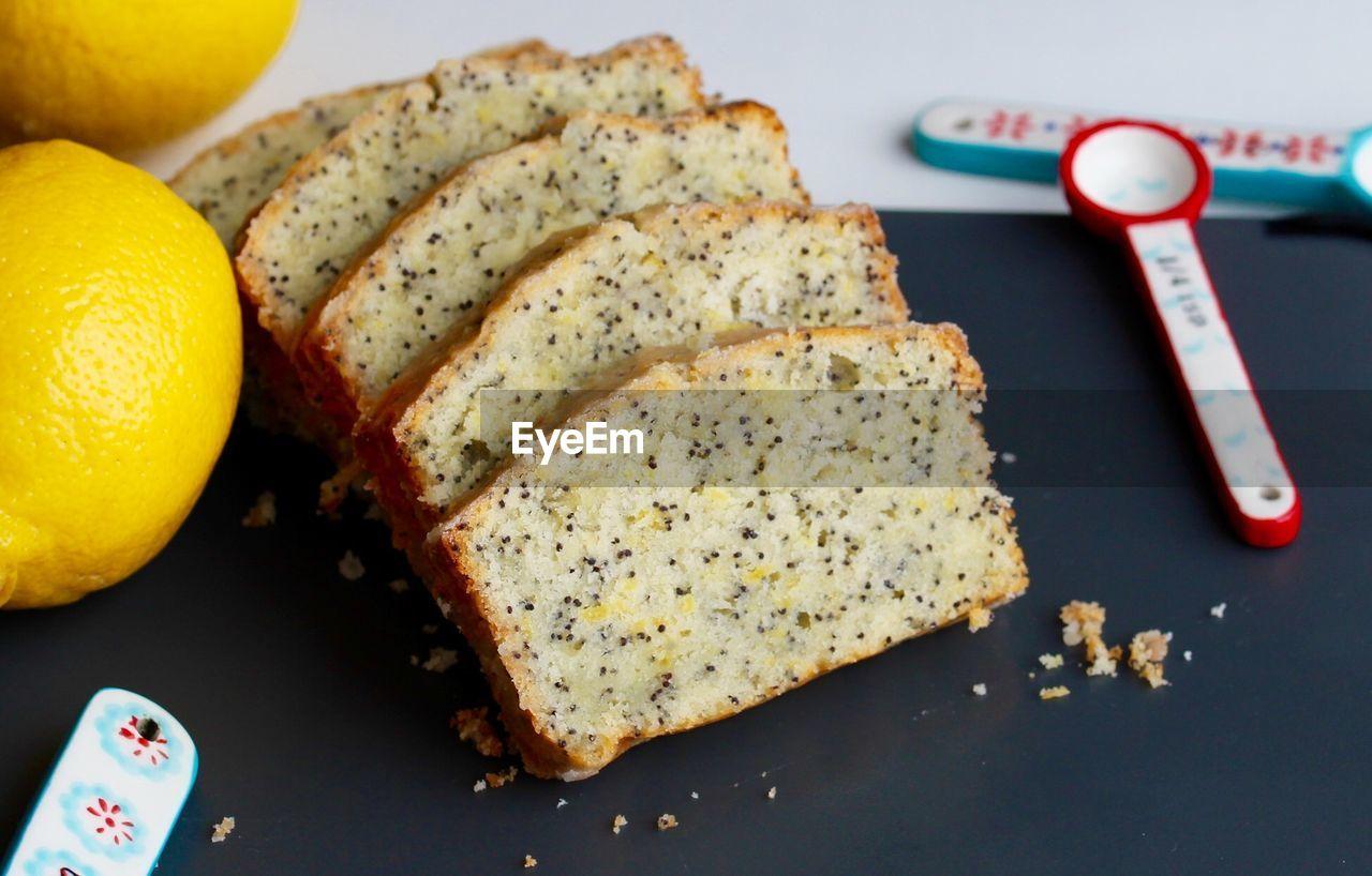 Close-up of slices of lemon poppyseed load