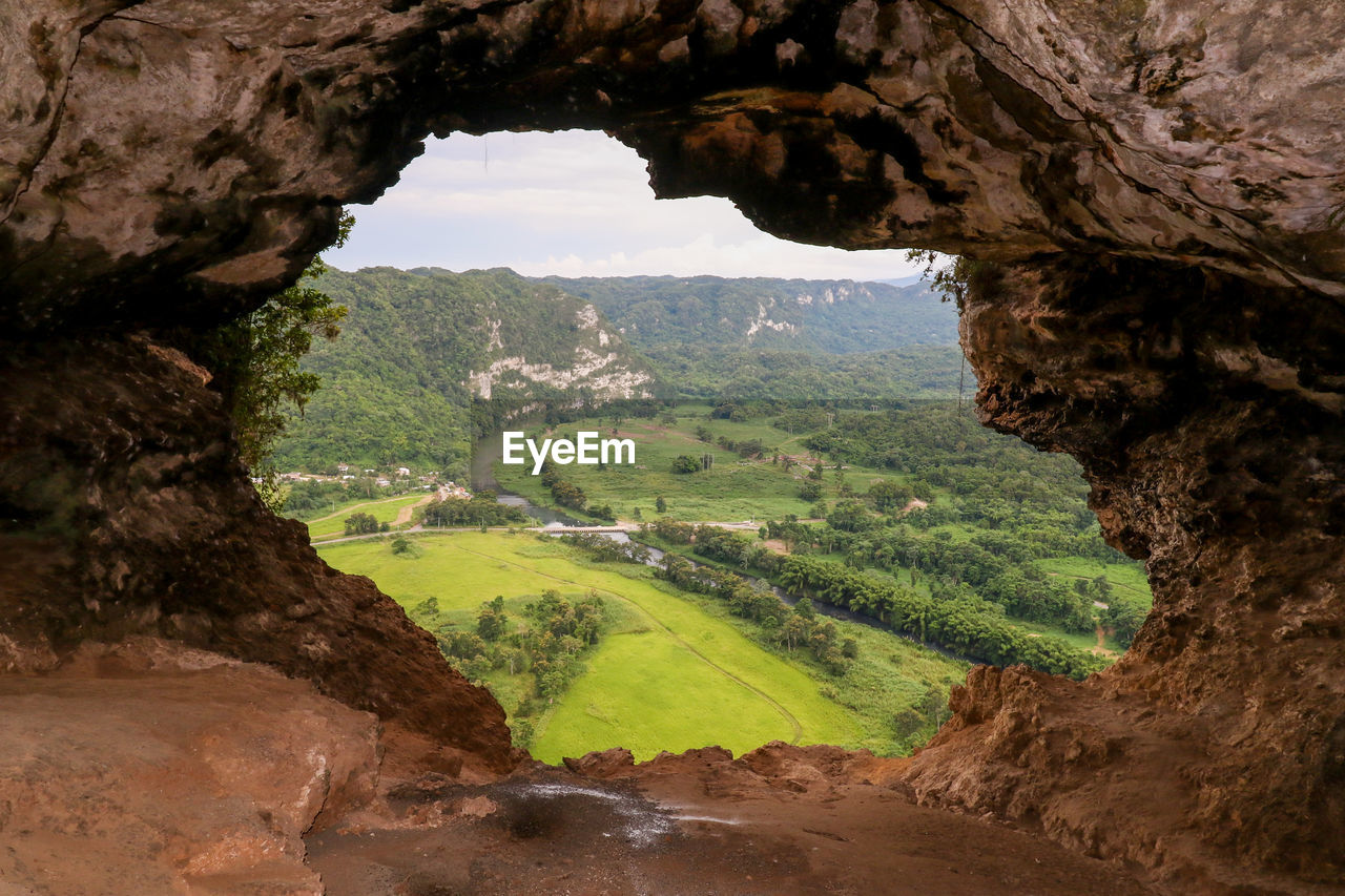 Scenic View Of Mountain Seen Cave