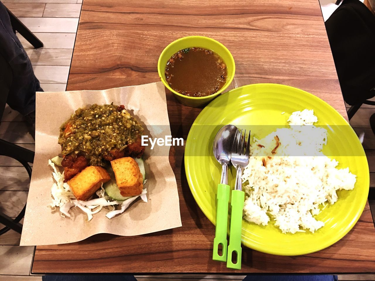 table, food and drink, food, freshness, ready-to-eat, plate, high angle view, indoors, serving size, no people, healthy eating, directly above, close-up, day
