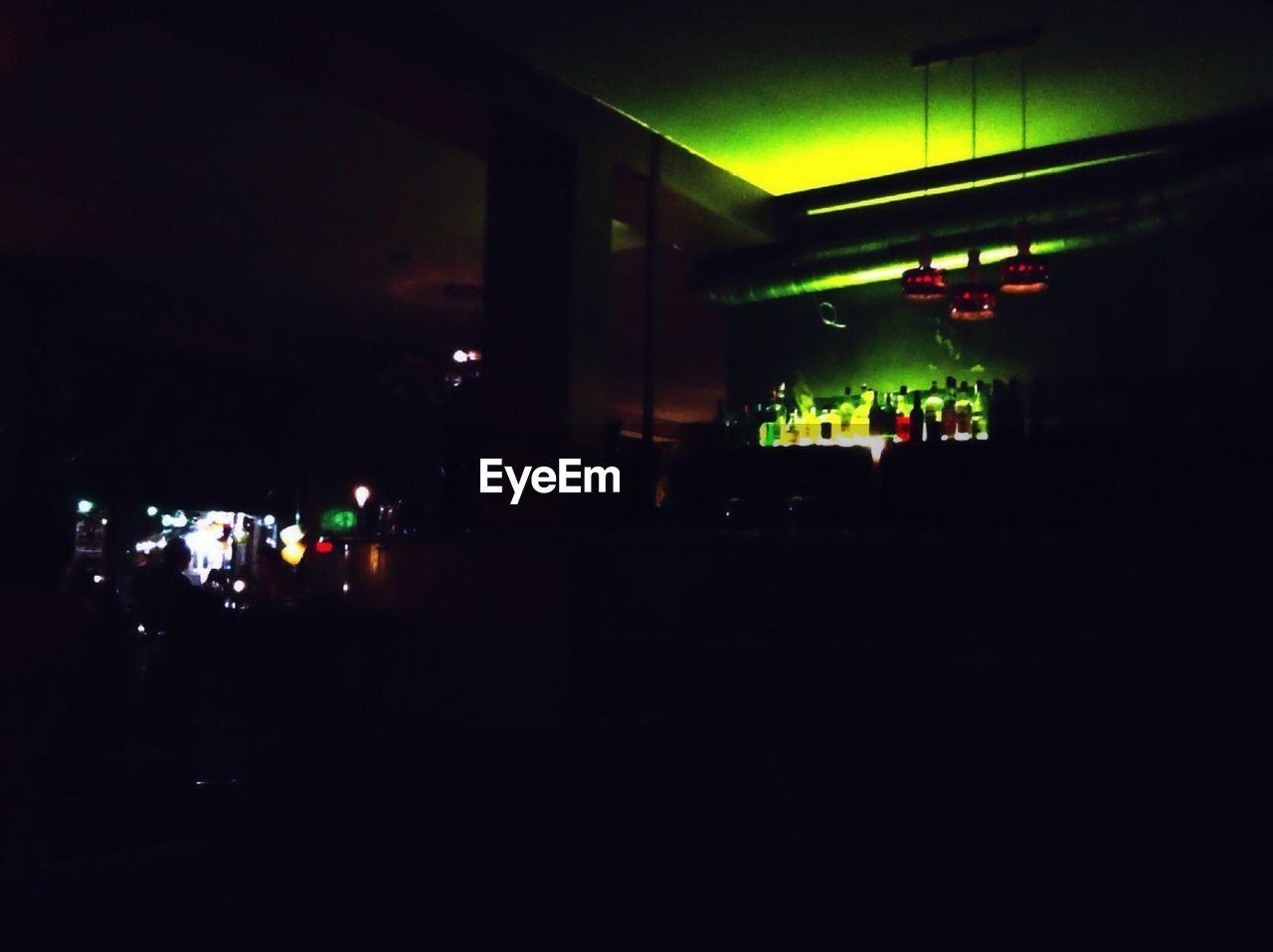 illuminated, night, indoors, architecture, no people