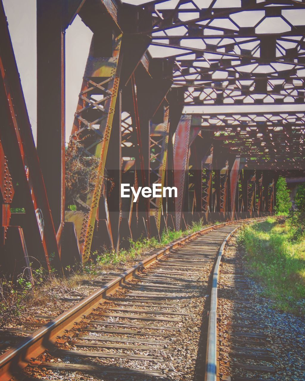 railroad track, transportation, the way forward, rail transportation, bridge - man made structure, no people, outdoors, day, built structure