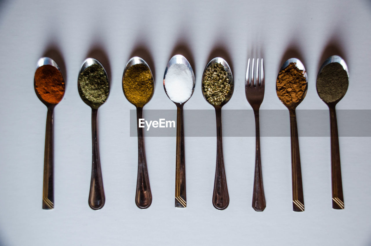 still life, variation, food and drink, in a row, high angle view, arrangement, white background, indoors, large group of objects, no people, close-up, food, freshness, day