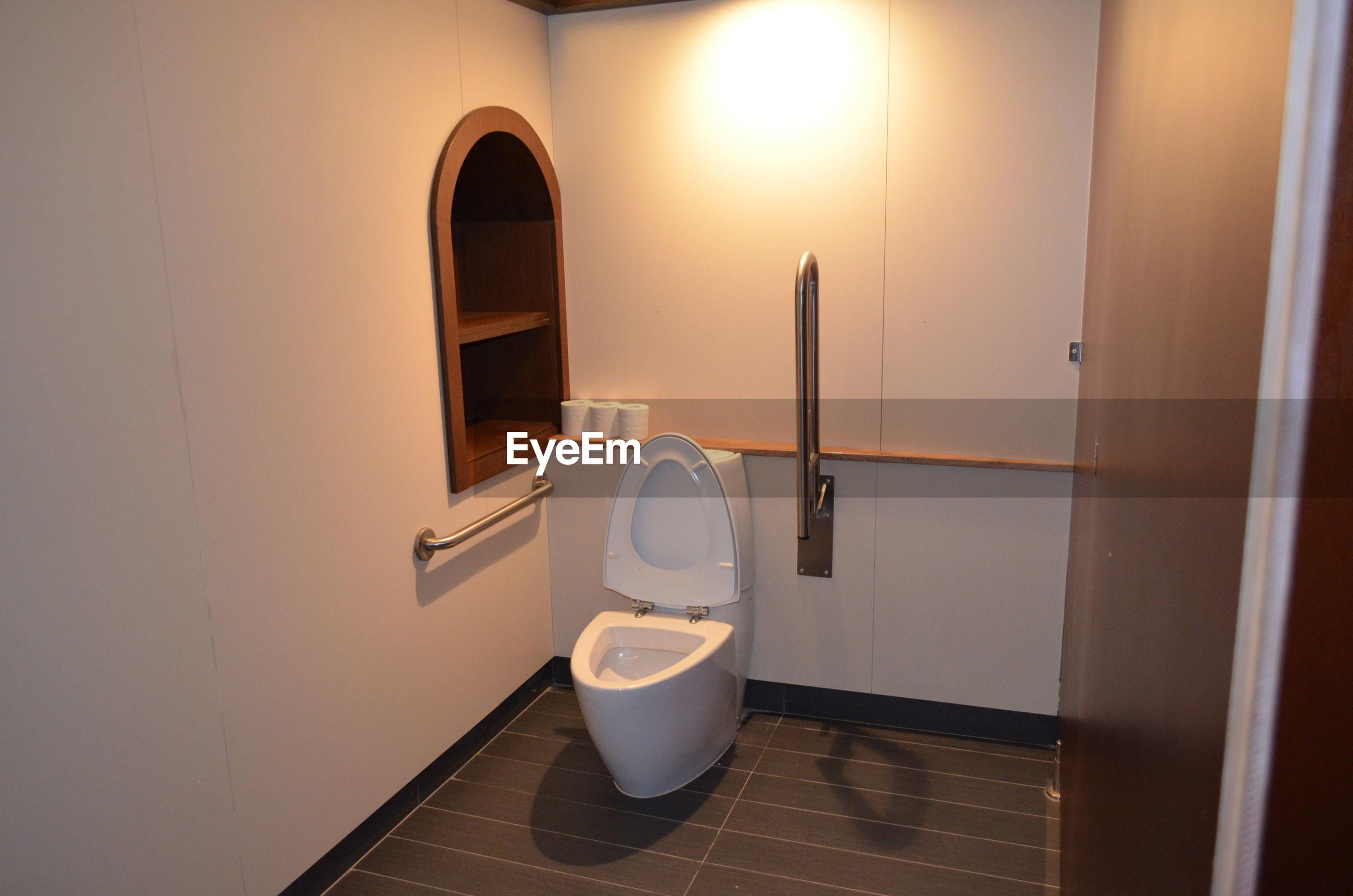 Interior of illuminated toilet
