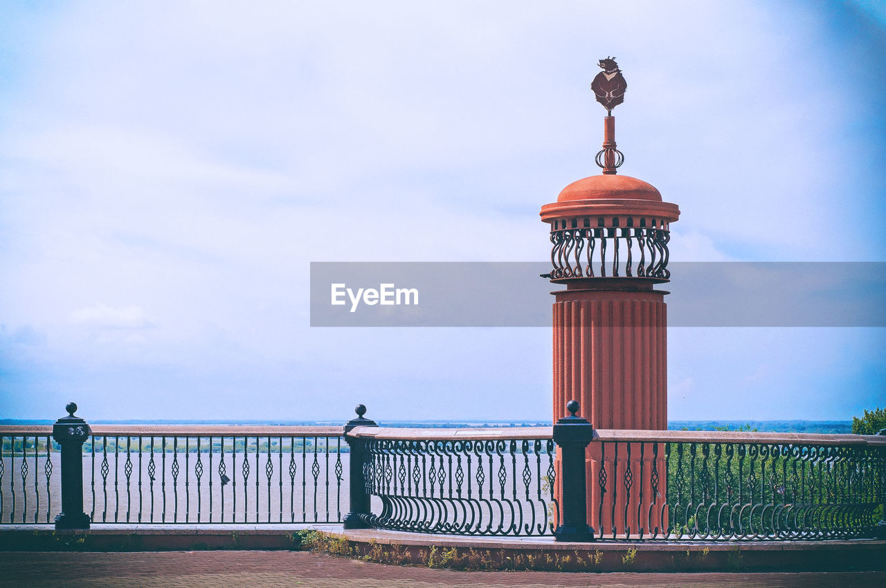 sky, built structure, architecture, cloud - sky, railing, nature, day, no people, tower, fence, barrier, boundary, safety, security, protection, building exterior, water, outdoors, metal, lighthouse