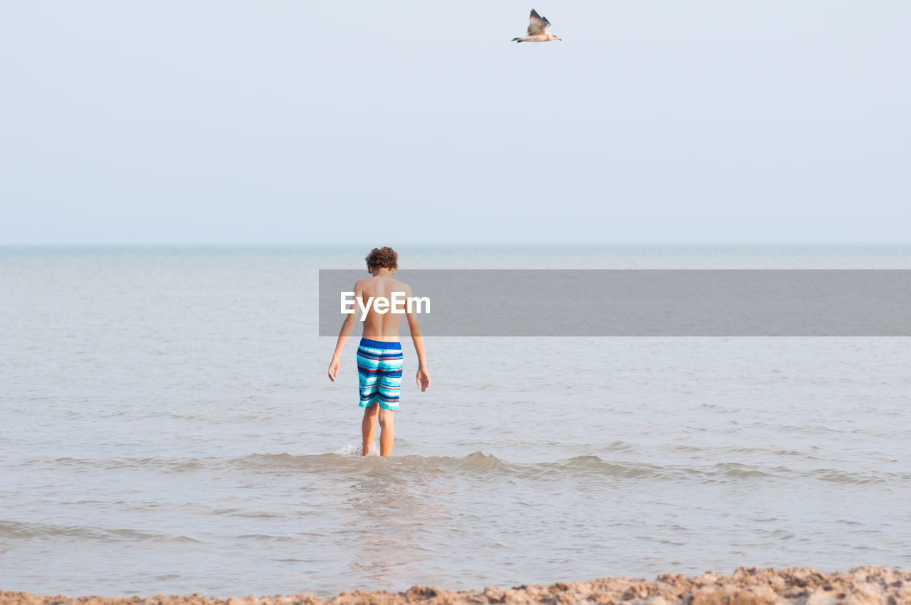 Rear View Of Shirtless Boy Standing In Sea Against Clear Sky