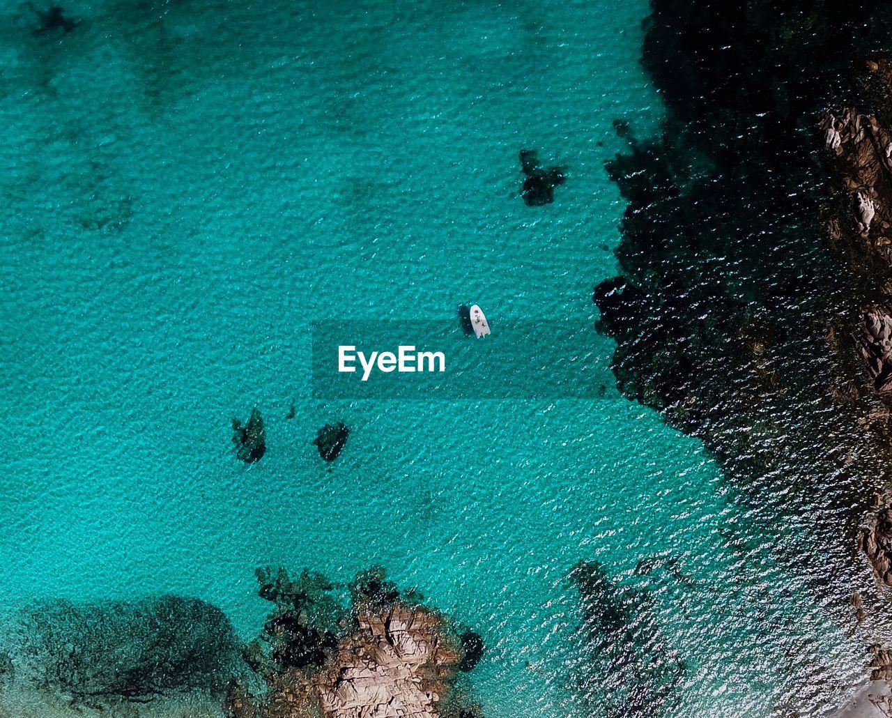 Drone Shot Of Boat In Sea