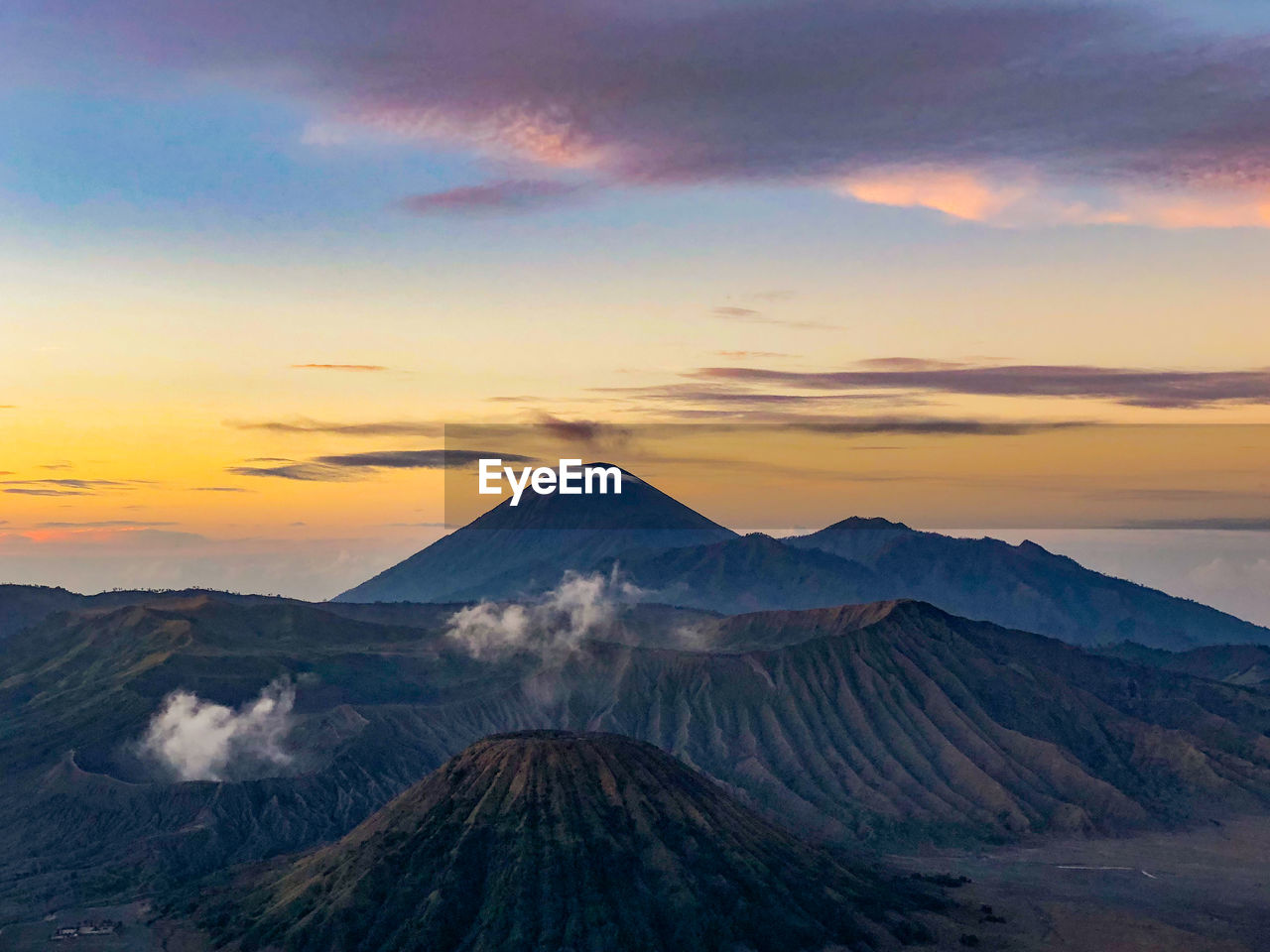 Beautiful sunrise with the bromo mountain view