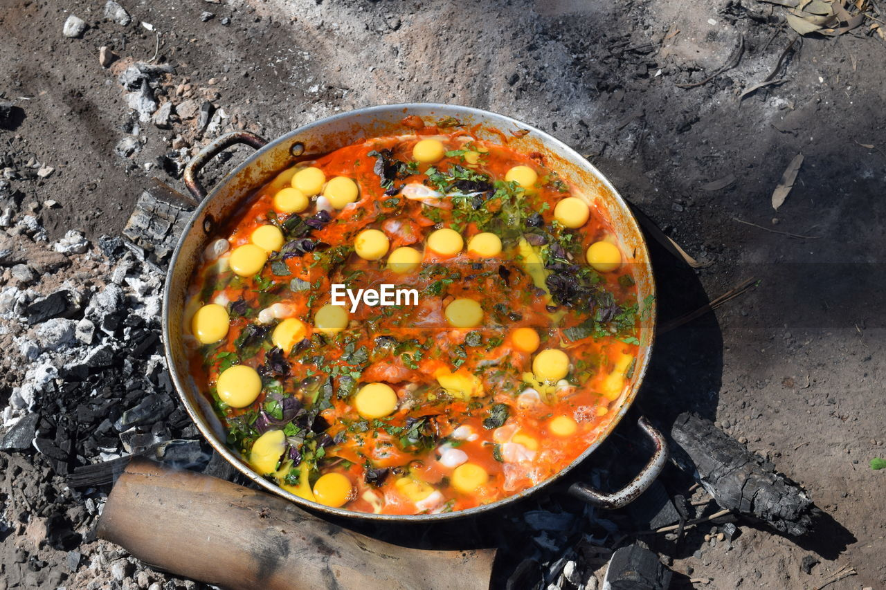 High Angle View Of Food In Pan