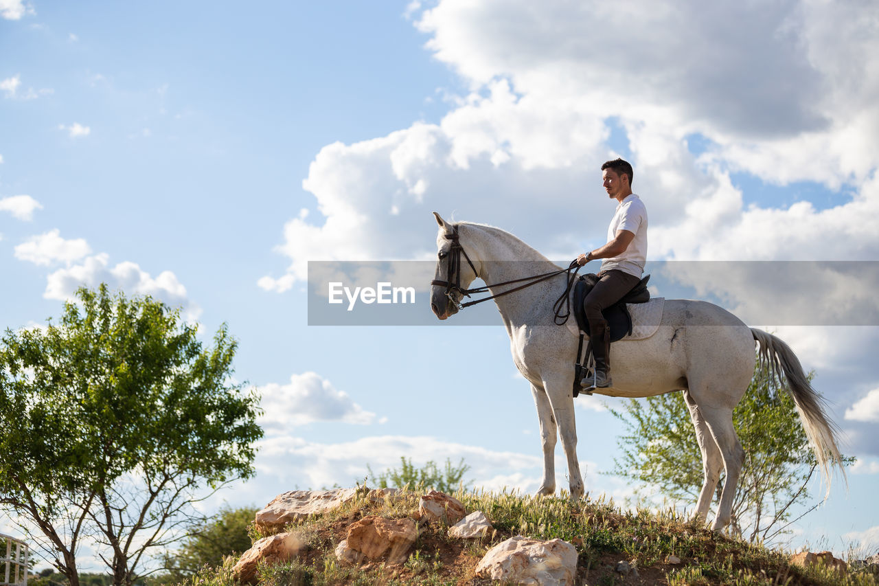 Side view of man riding horse on land against sky