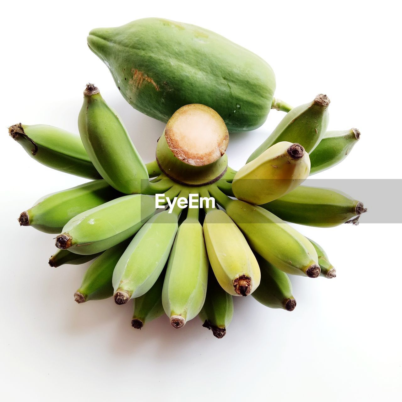 green color, studio shot, food and drink, white background, food, healthy eating, freshness, wellbeing, close-up, still life, no people, banana, fruit, indoors, high angle view, bunch, raw food, cut out, group of objects, large group of objects