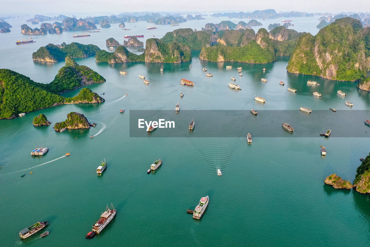 Aerial view of ships on seascape
