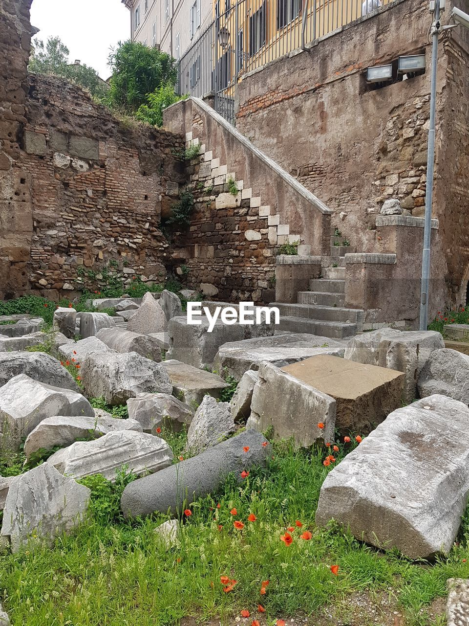 architecture, built structure, plant, building exterior, day, no people, nature, history, the past, grass, old, staircase, wall, outdoors, solid, building, wall - building feature, flower, flowering plant, travel, ruined, stone wall