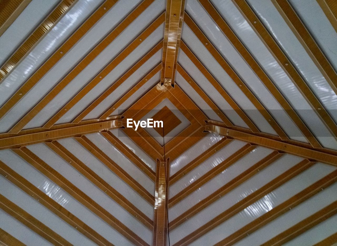 pattern, low angle view, full frame, built structure, no people, architecture, backgrounds, indoors, ceiling, day, close-up, design, wood - material, metal, brown, shape, directly below, security, repetition, roof beam