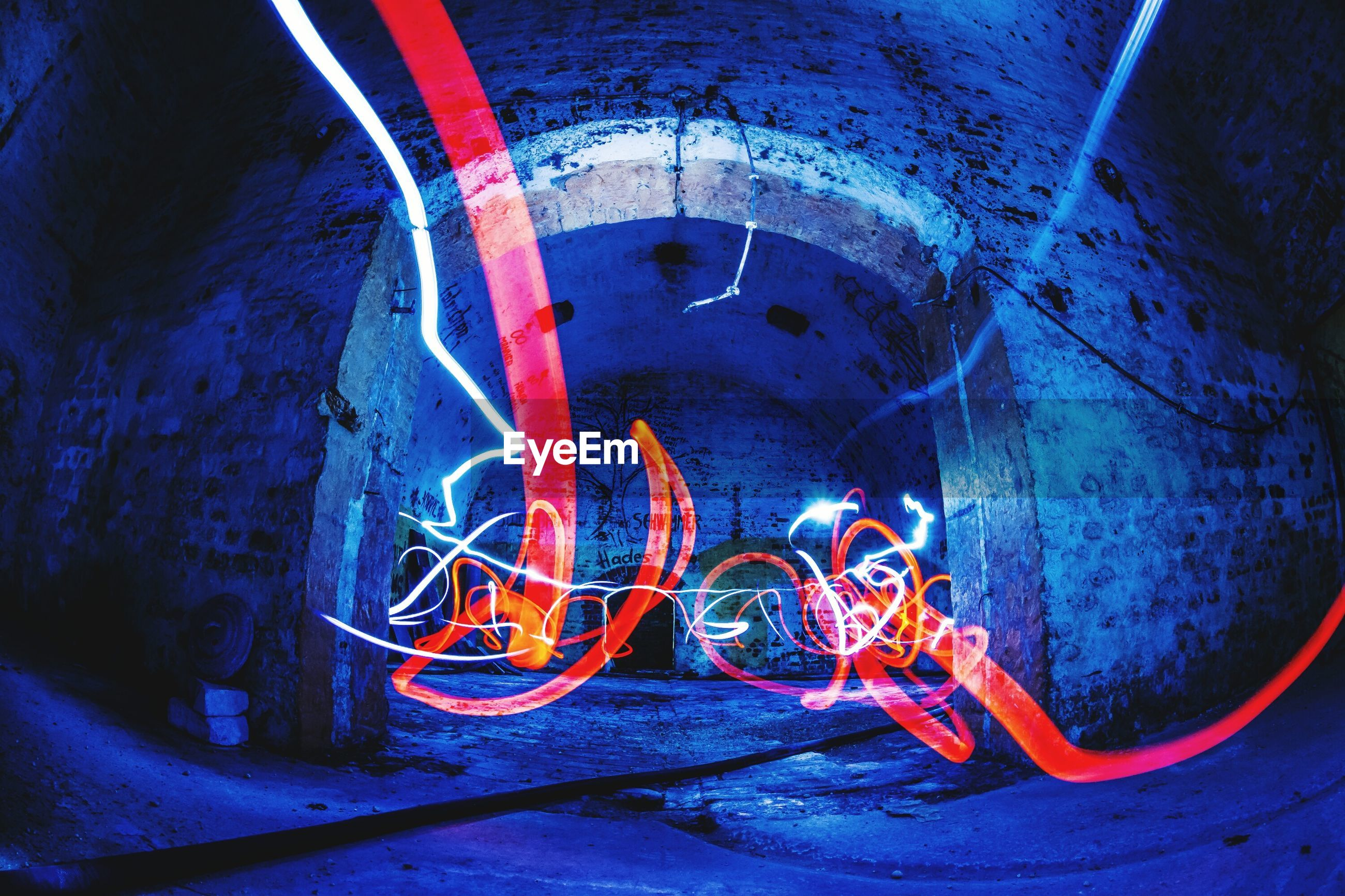 illuminated, high angle view, pipe - tube, indoors, no people, blue, basement, night, neon