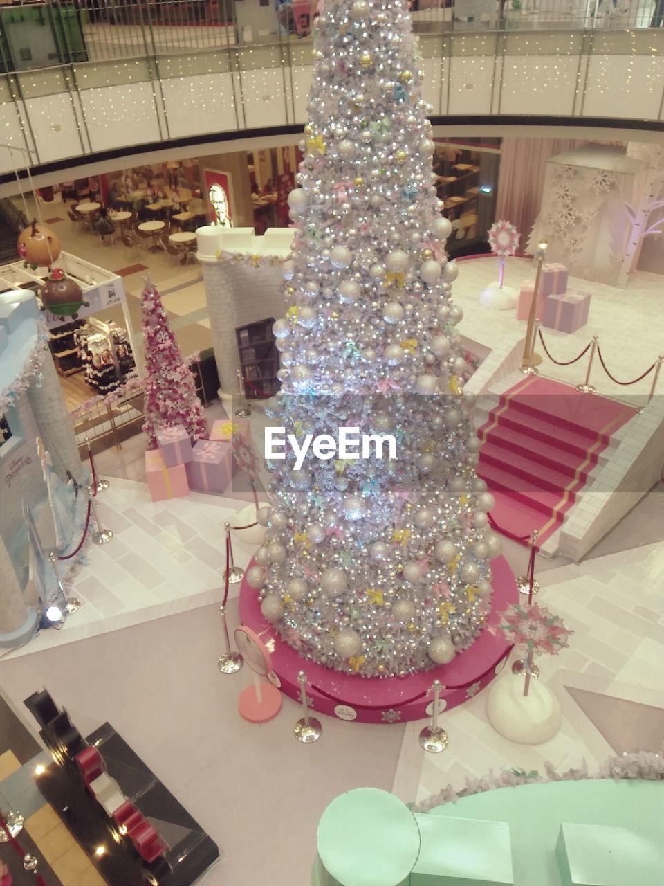 celebration, christmas, indoors, no people, christmas tree, sweet food, large group of objects, retail, christmas decoration, illuminated, day