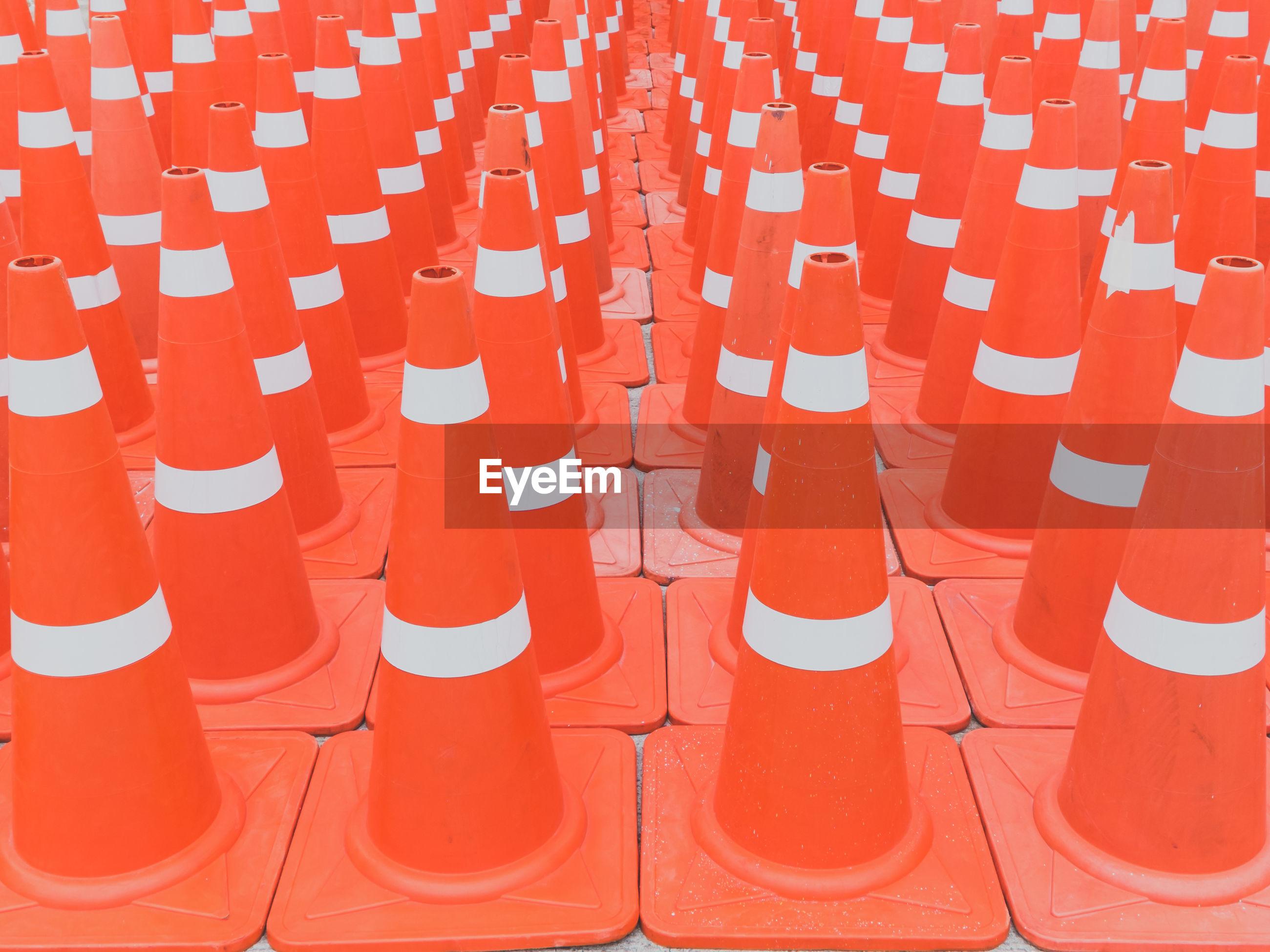 Full frame shot of traffic cones