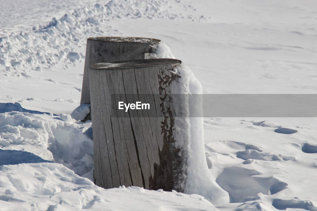 snow, cold temperature, winter, frozen, nature, land, day, field, no people, covering, white color, tranquility, landscape, tranquil scene, beauty in nature, environment, wood - material, ice, scenics - nature, wooden post