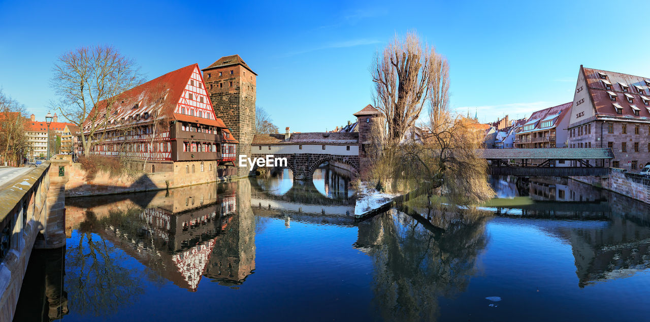 built structure, water, architecture, reflection, building exterior, sky, waterfront, bridge, river, bridge - man made structure, nature, connection, building, blue, no people, day, old, residential district, arch bridge