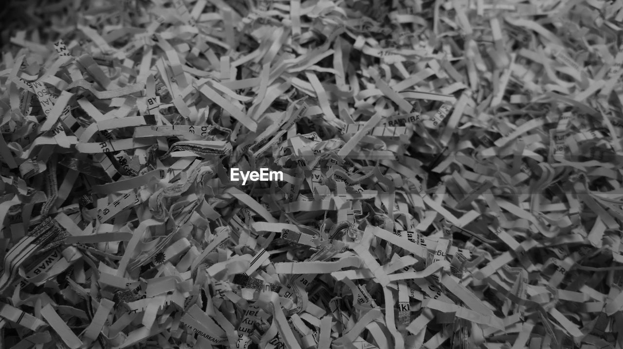 Full frame shot of shredded papers