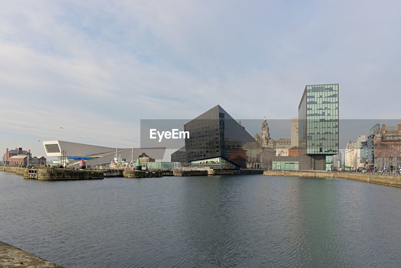 Museum of liverpool, liver building and regus offices shown from over the canning dock